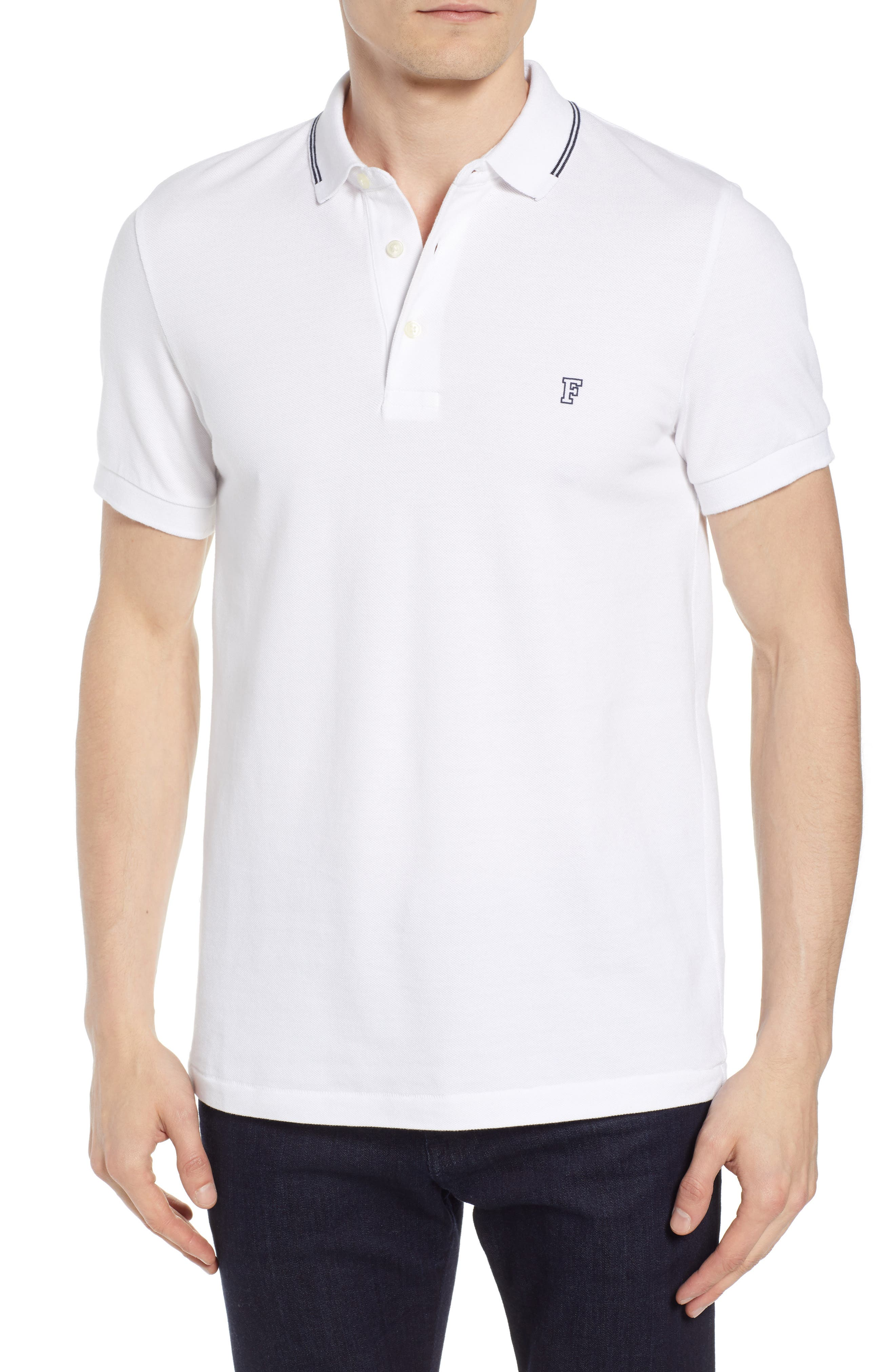 Summer Tipped Polo,                         Main,                         color, WHITE MARINE BLUE