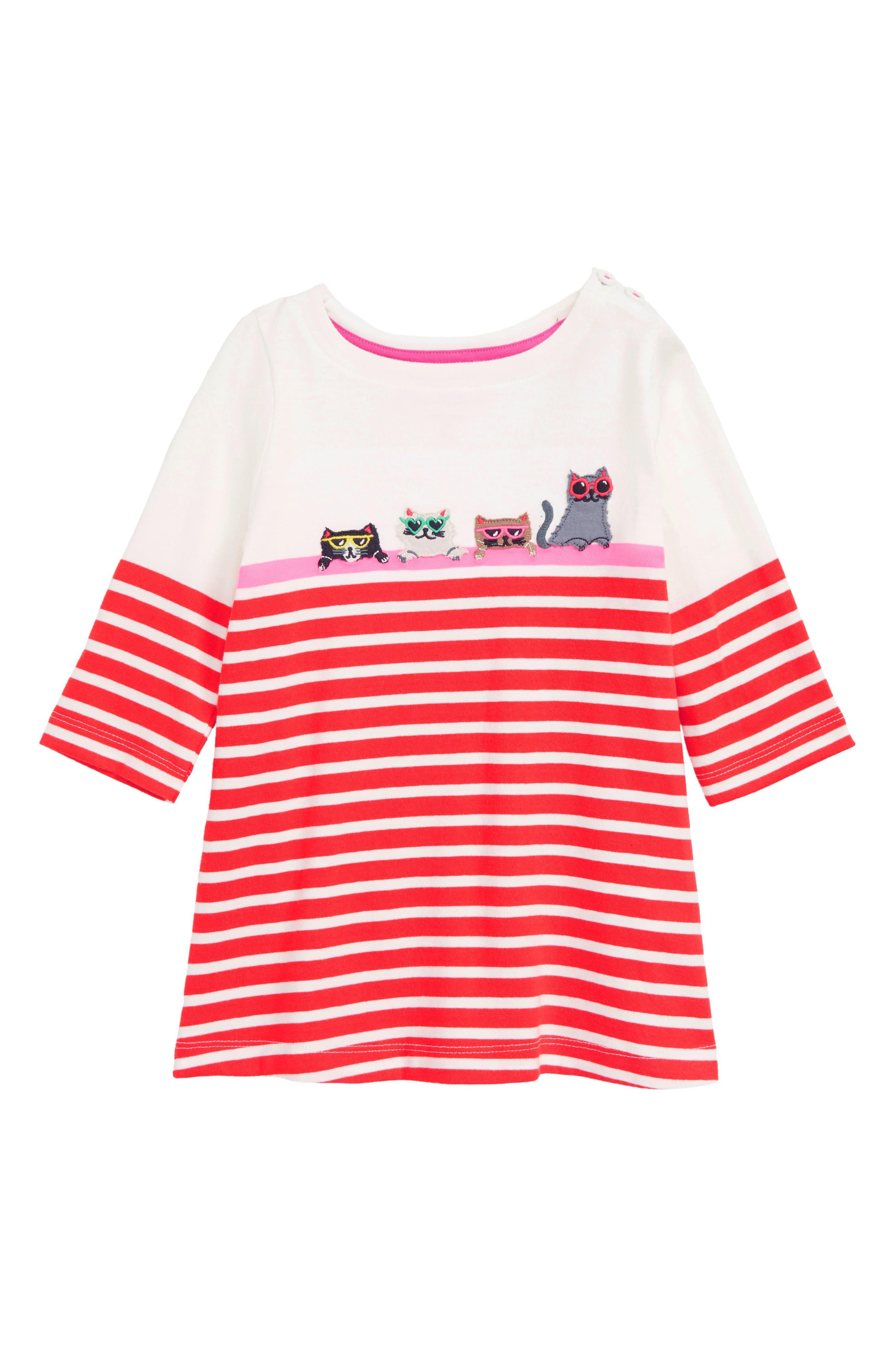 MINI BODEN Stripe Appliqué Tunic, Main, color, 614