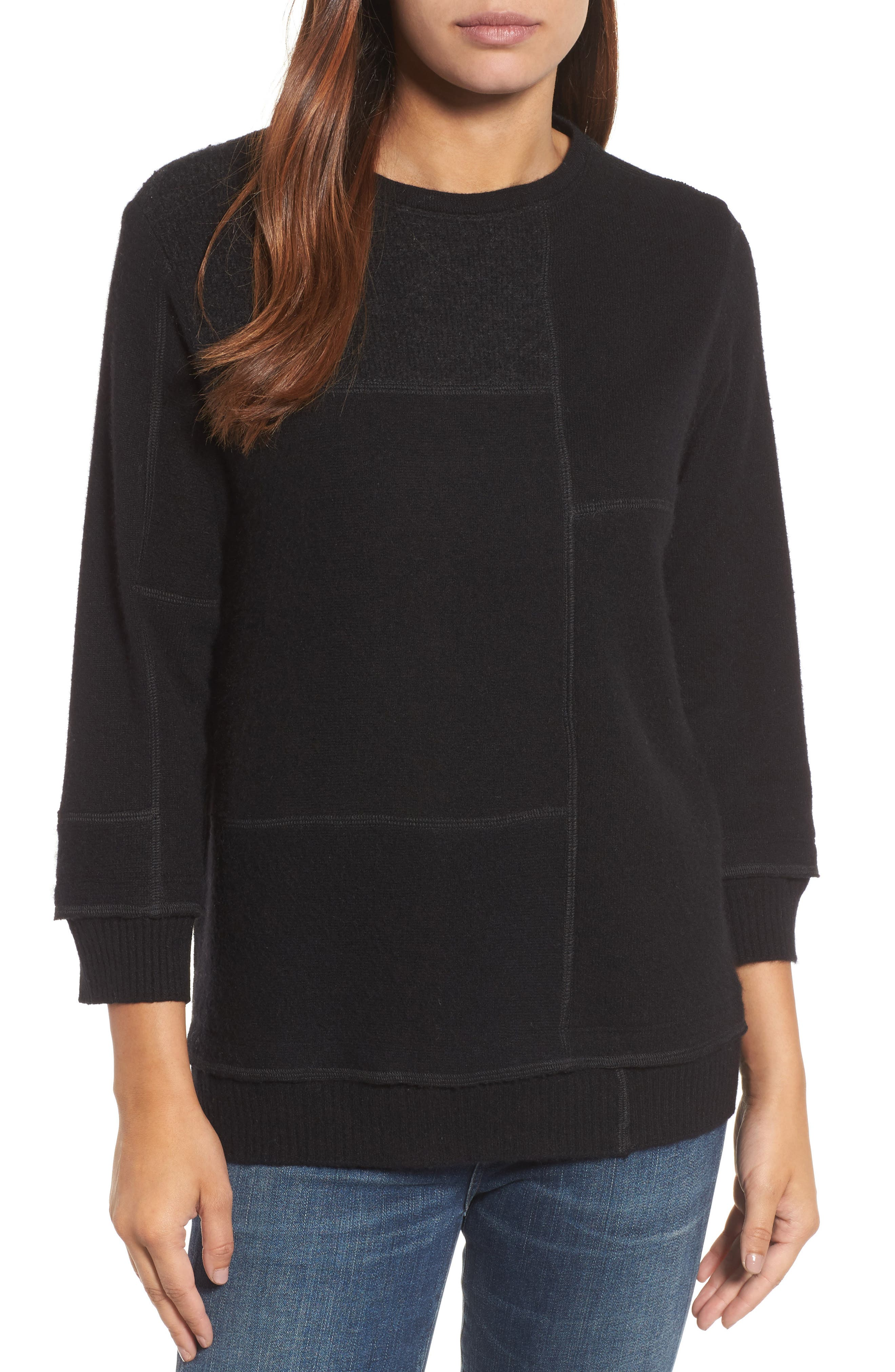 Colorblock Cashmere Sweater,                         Main,                         color, 001