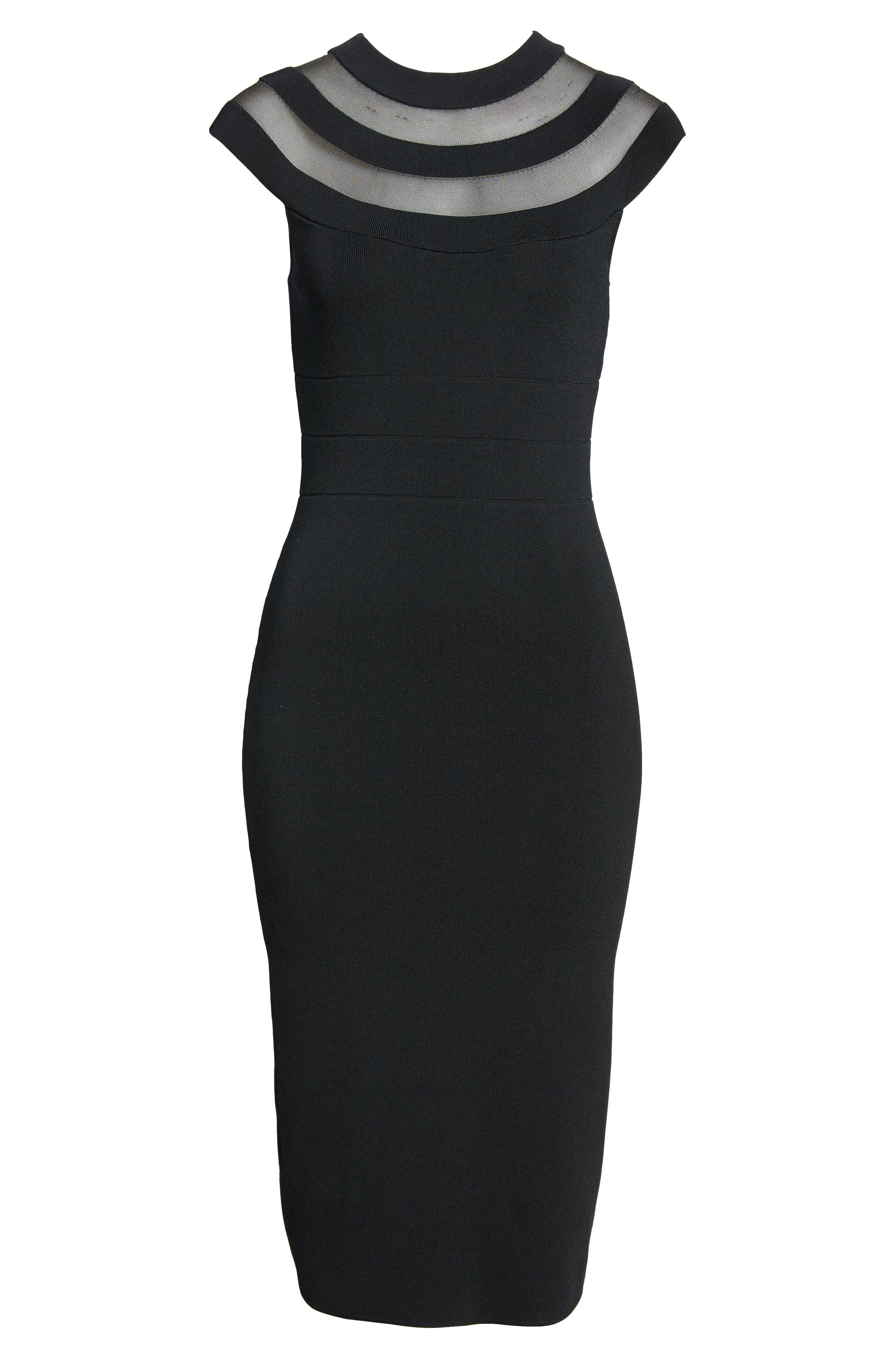 Sheer Inset Knit Sheath Dress,                             Alternate thumbnail 6, color,                             001