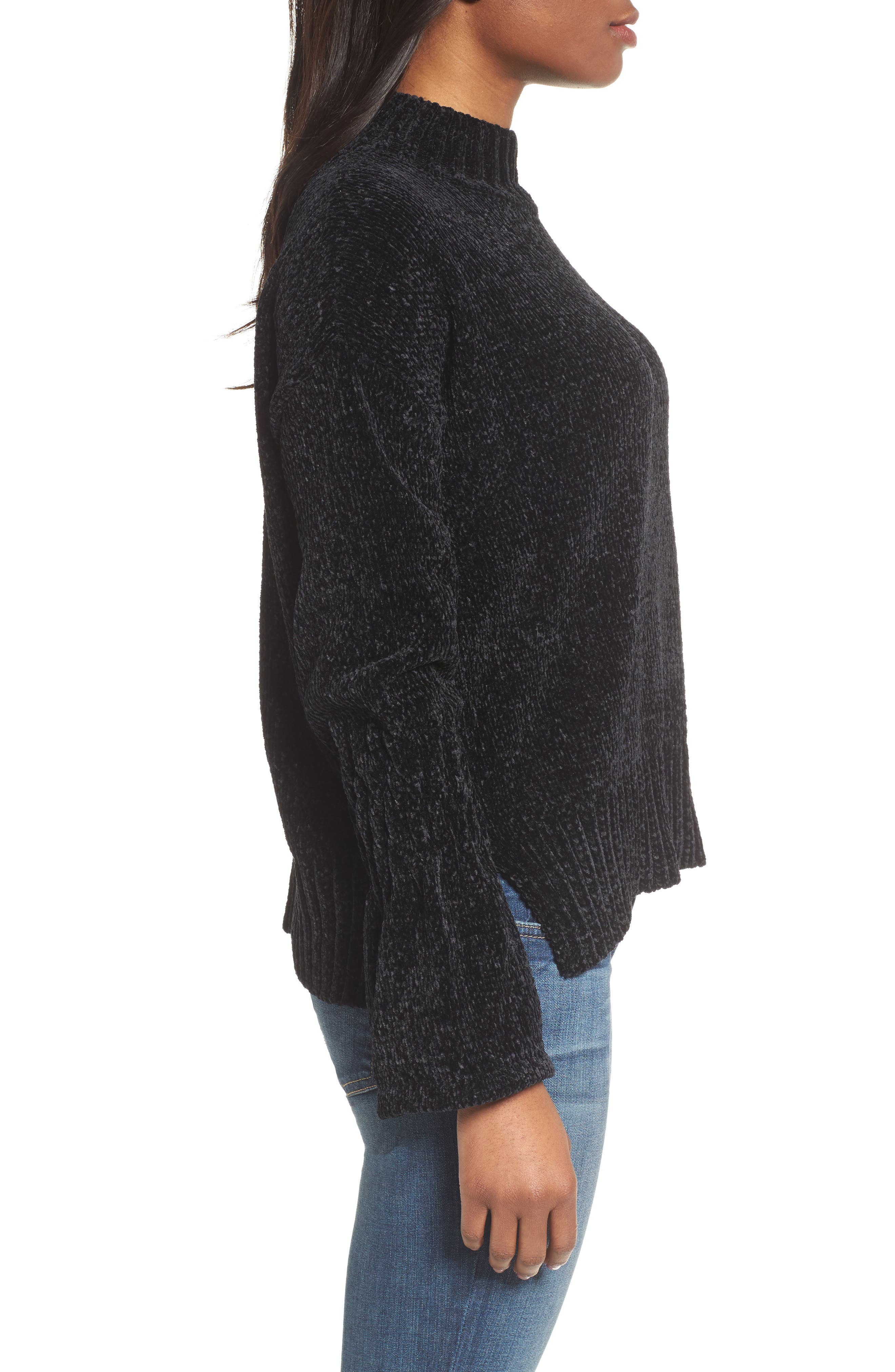 Bell Cuff Sweater,                             Alternate thumbnail 3, color,                             001