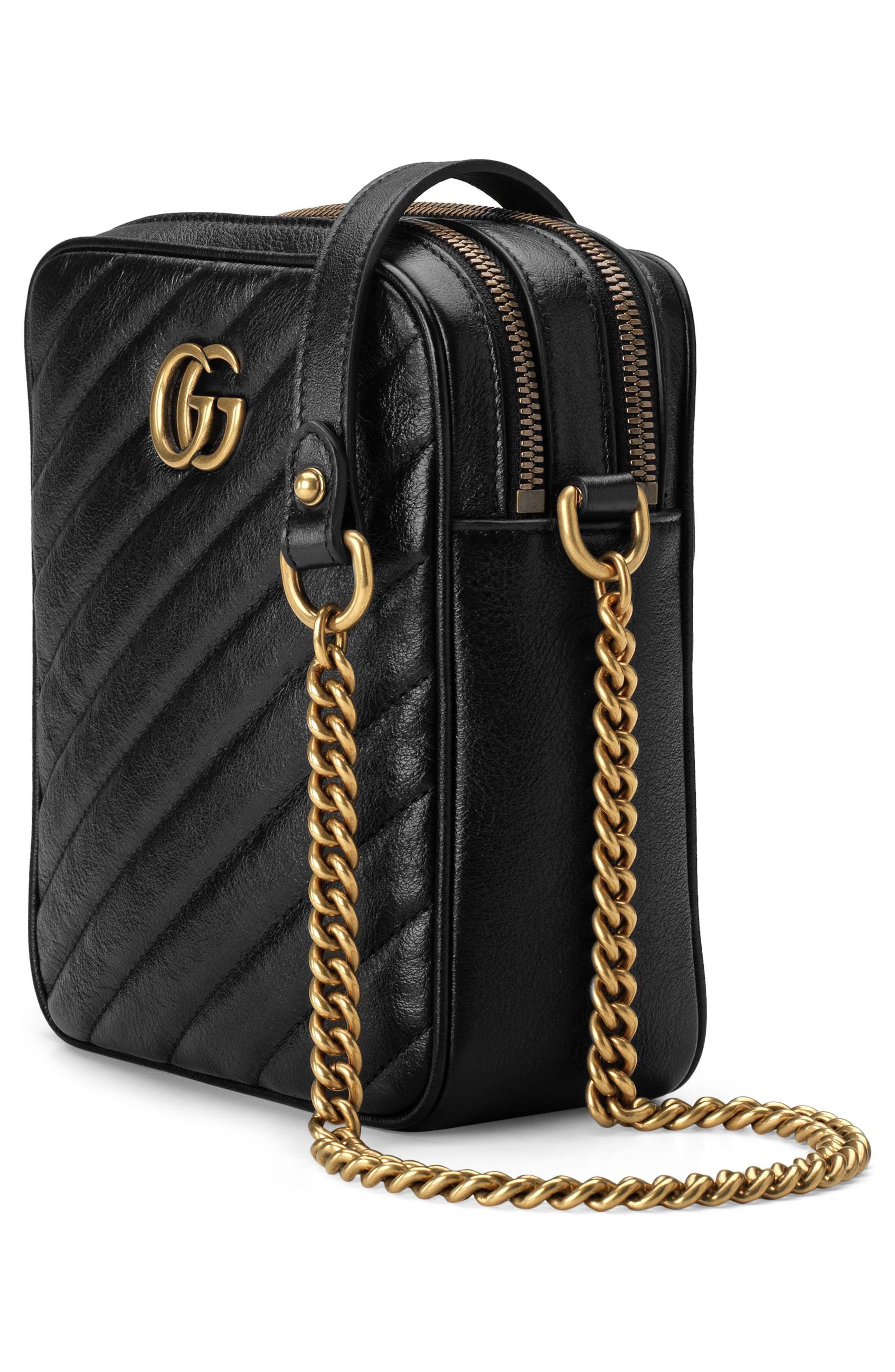 Mini Marmont 2.0 Leather Crossbody Bag,                             Alternate thumbnail 4, color,                             NERO