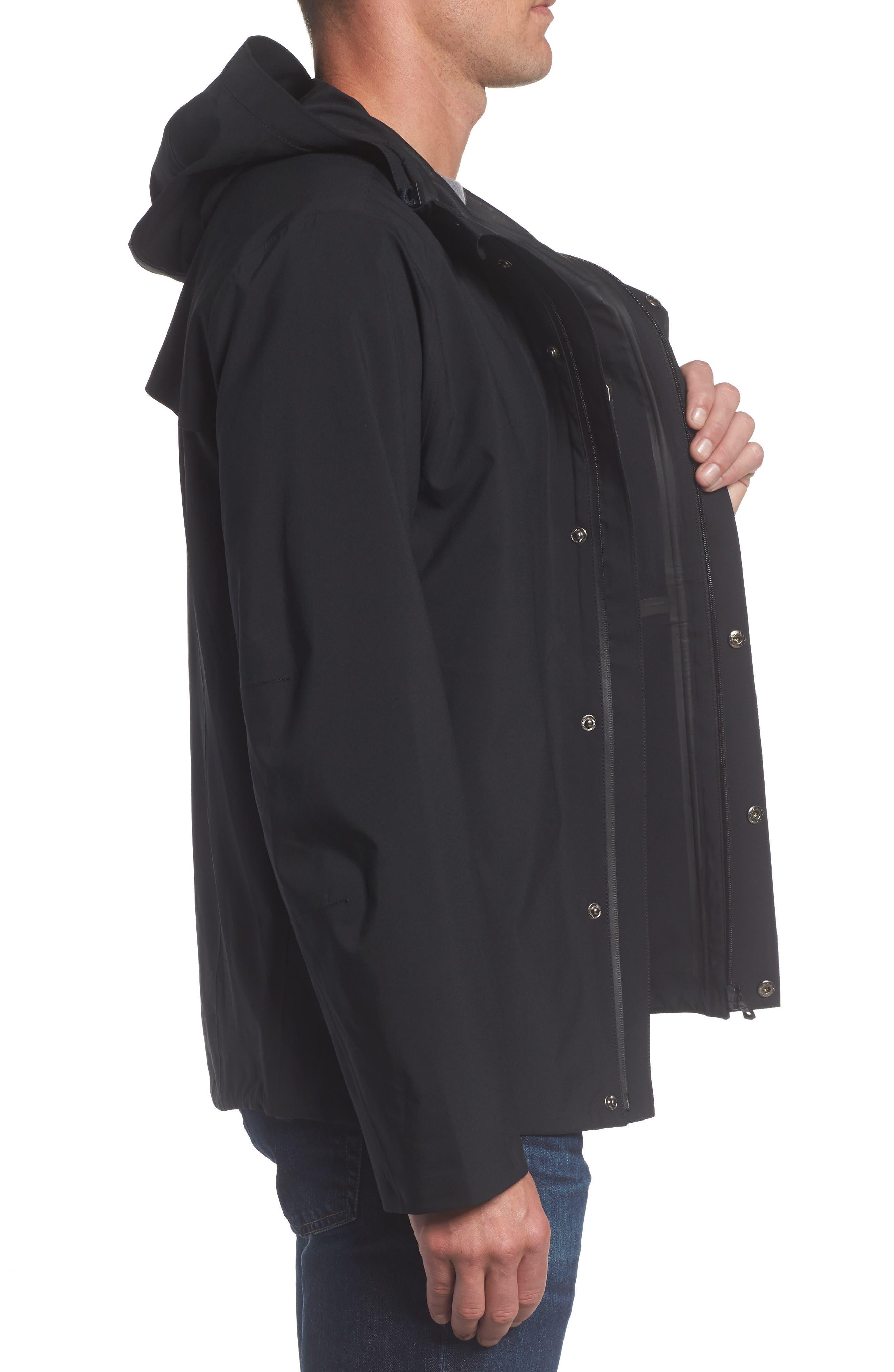 Marc New York Stratus Waterproof Hooded Rain Jacket,                             Alternate thumbnail 3, color,                             001