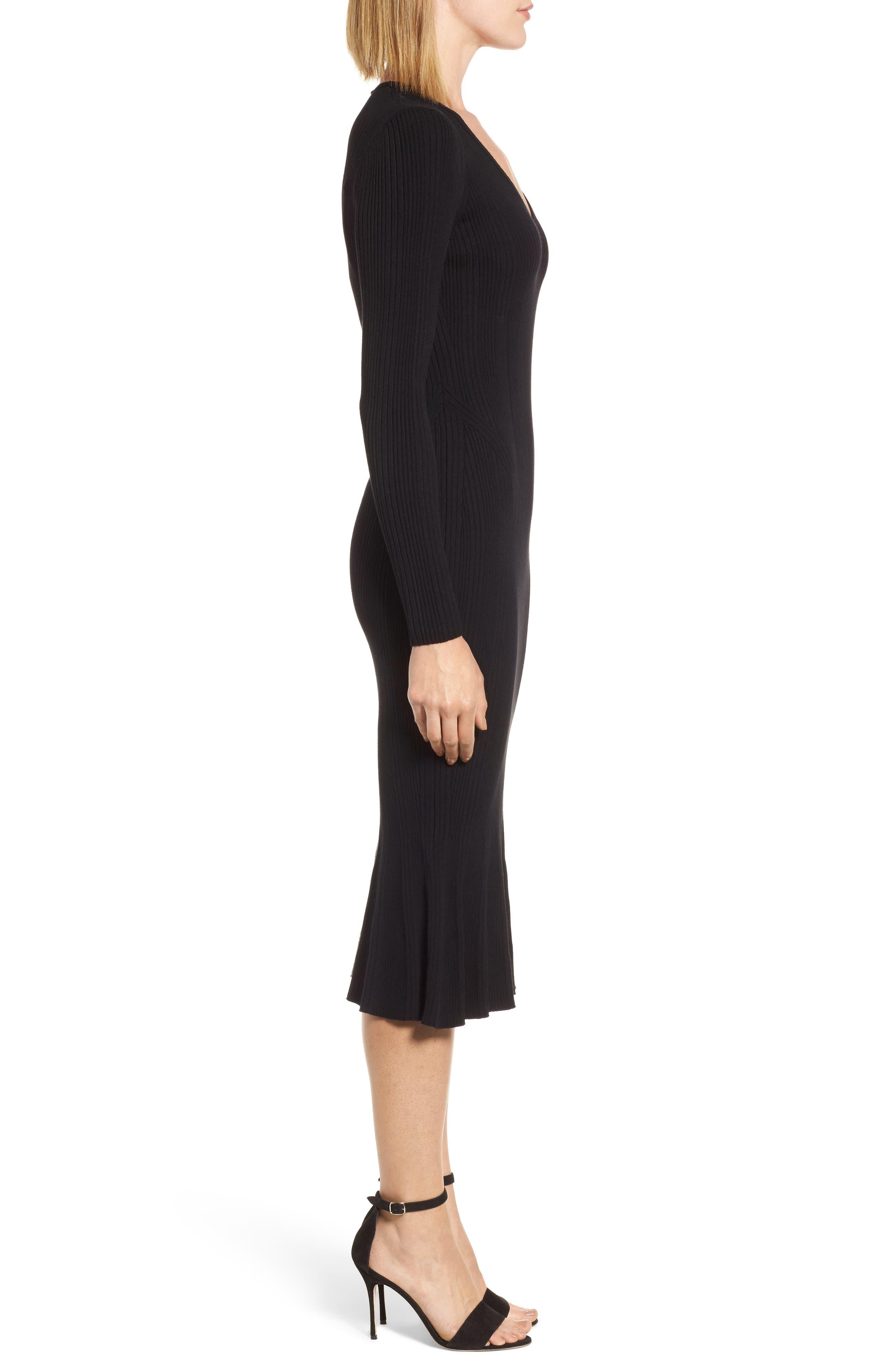 Ribbed Knit Midi Dress,                             Alternate thumbnail 3, color,                             001