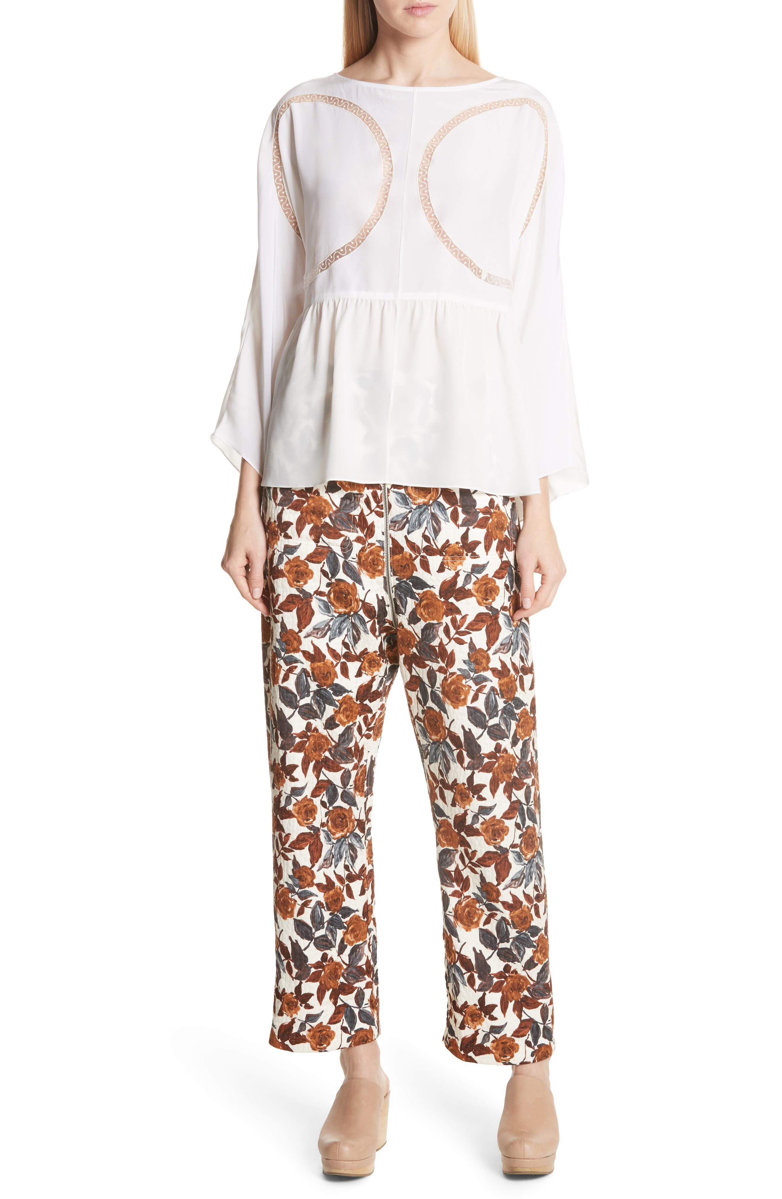 Barrie Floral Print Pants,                             Alternate thumbnail 7, color,                             BROWN