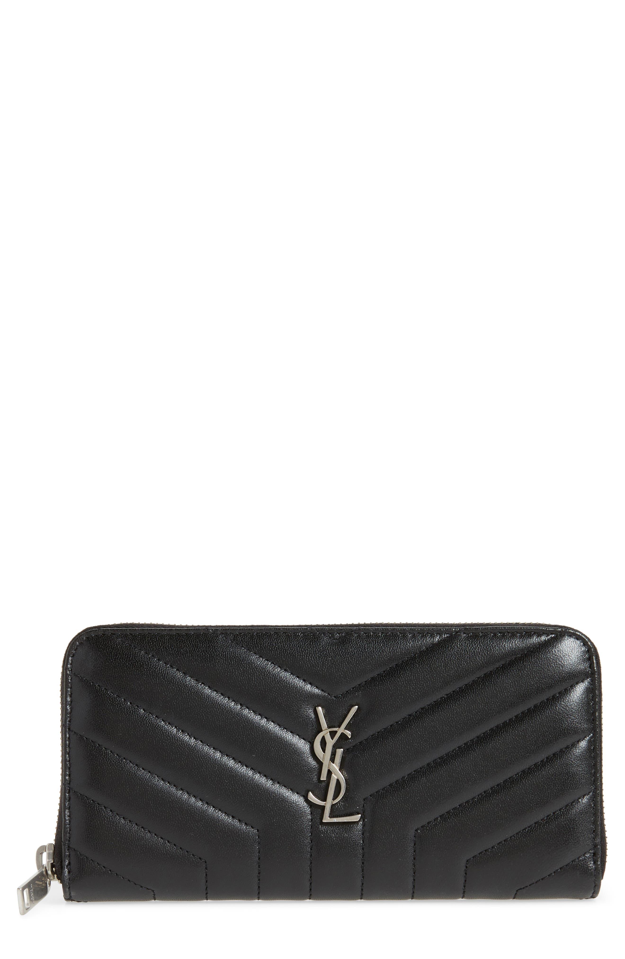 Loulou Matelassé Leather Zip-Around Wallet,                             Main thumbnail 1, color,                             NOIR