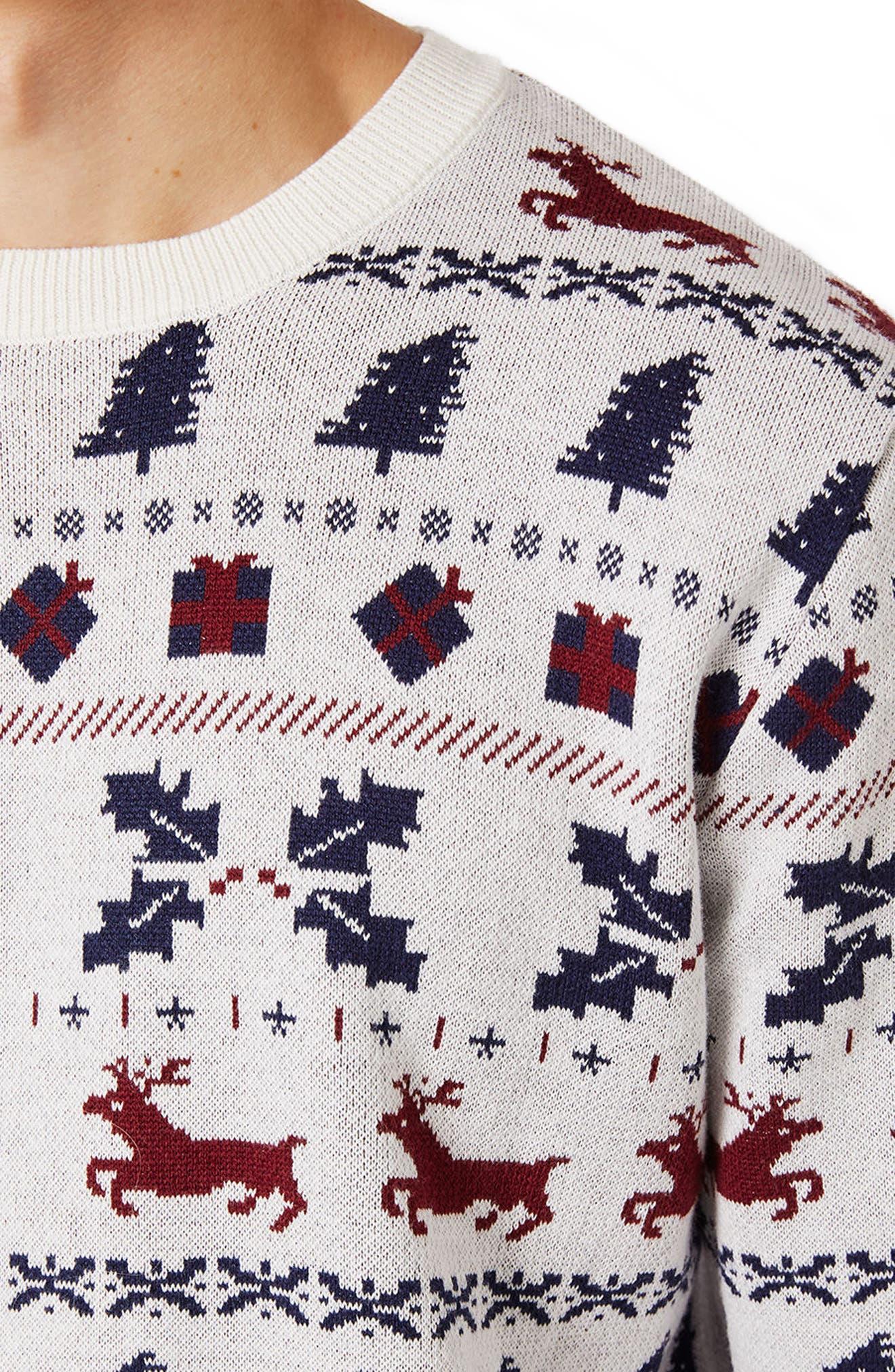 TOPMAN,                             Christmas Fair Isle Sweater,                             Alternate thumbnail 3, color,                             901