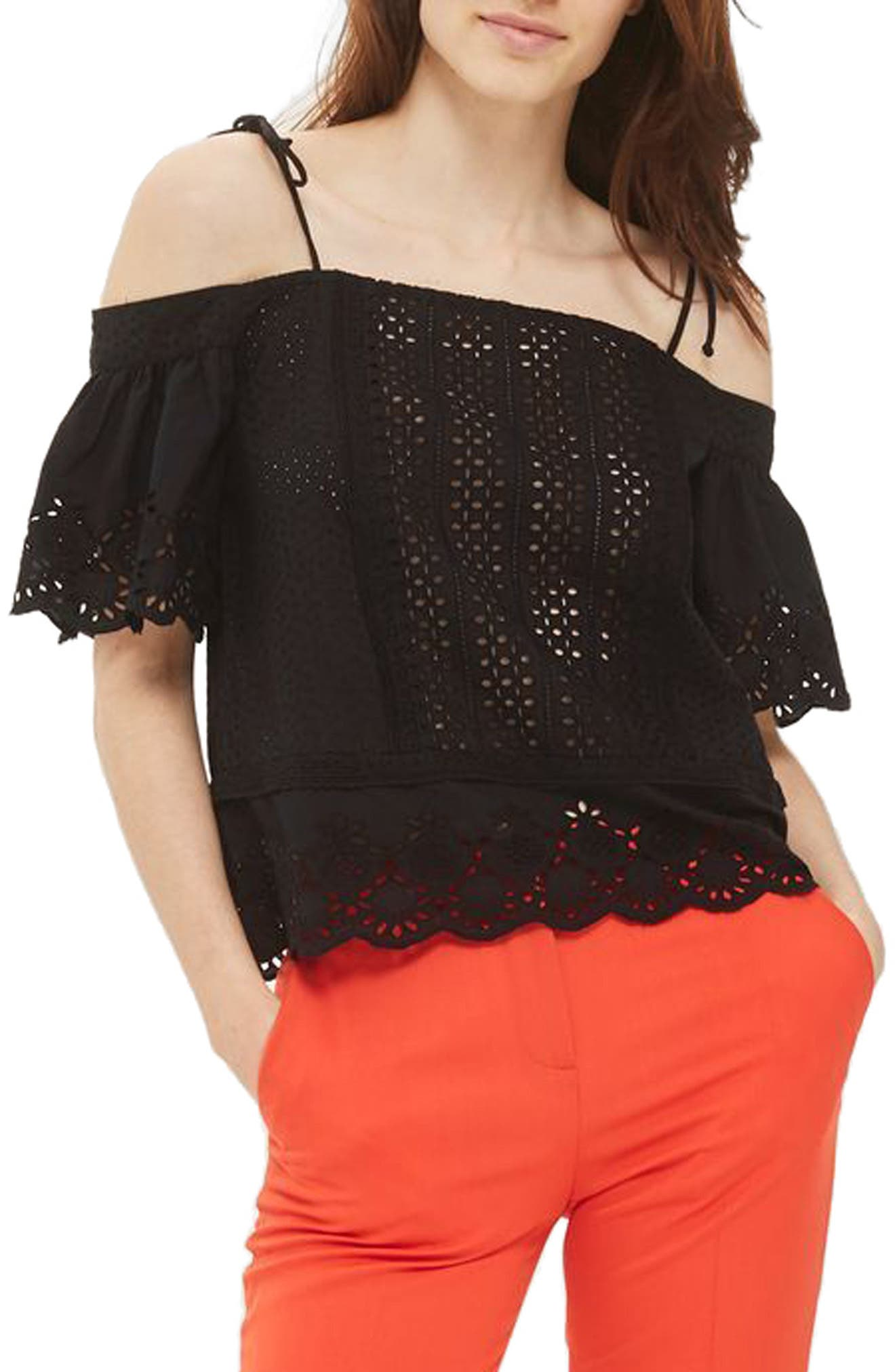 Broderie Bardot Top,                         Main,                         color, 001