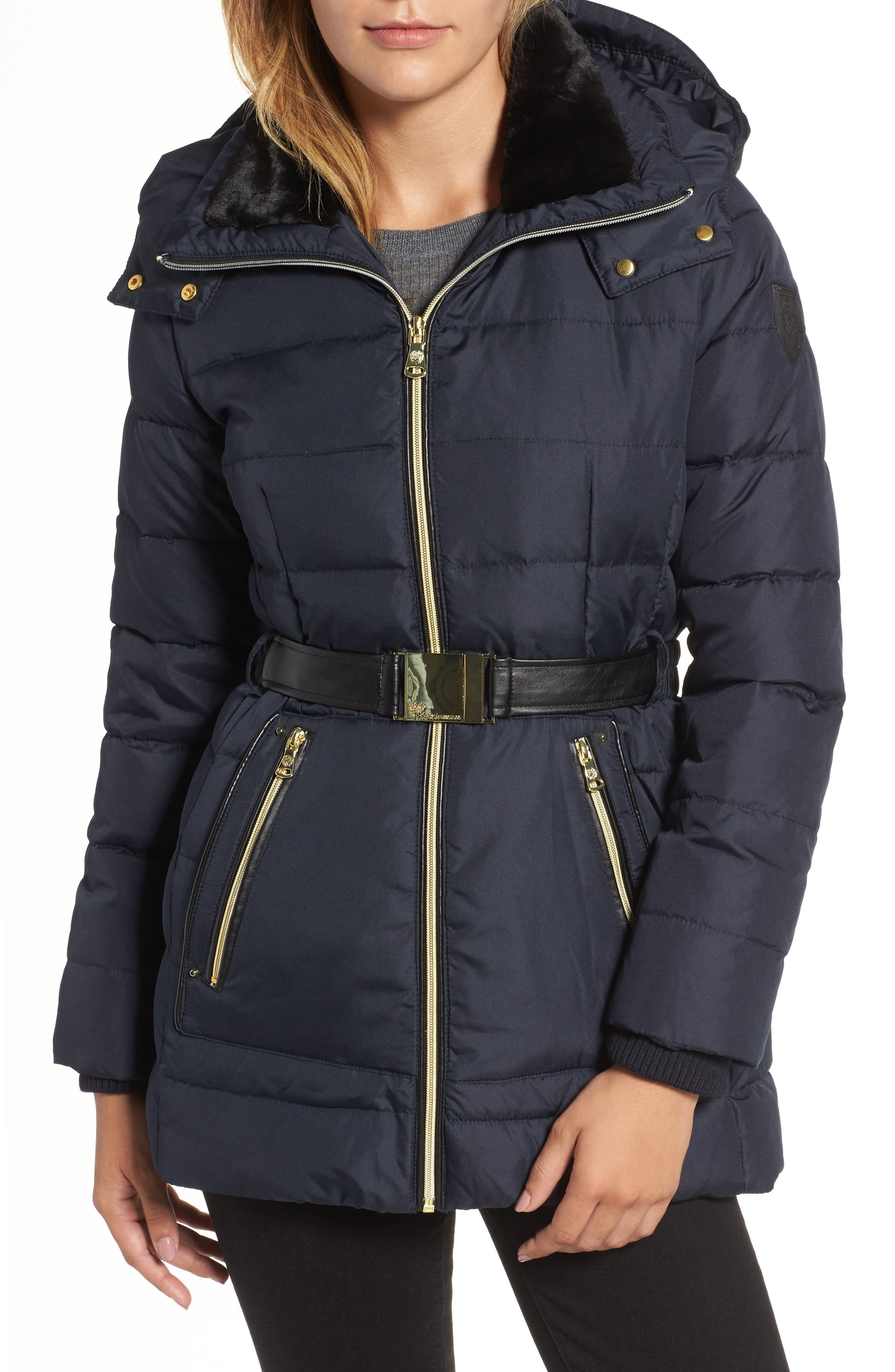 Belted Down & Feather Jacket with Faux Fur,                             Main thumbnail 3, color,
