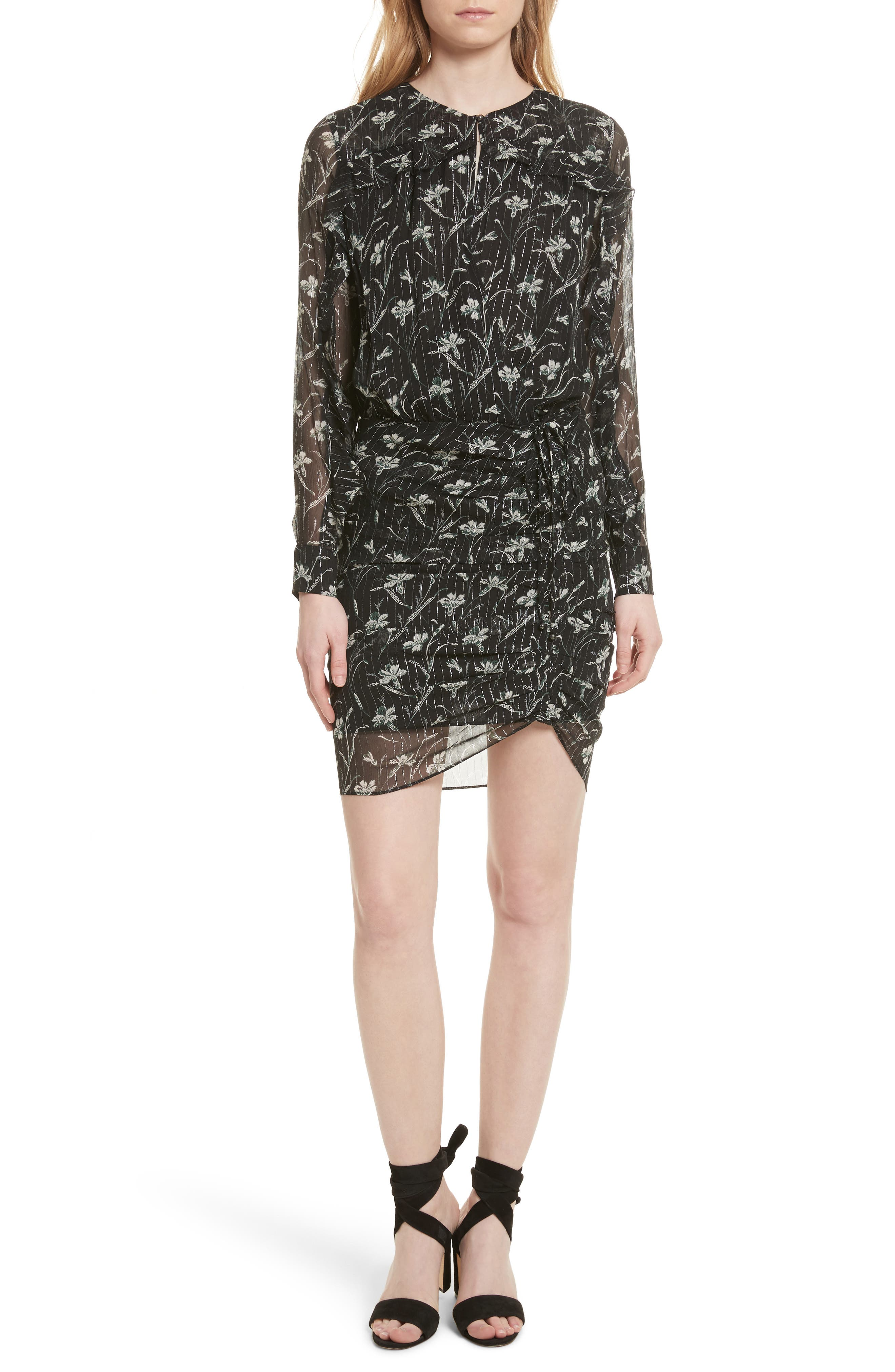 Fitzgerald Floral Print Metallic Chiffon Dress,                             Main thumbnail 1, color,                             301