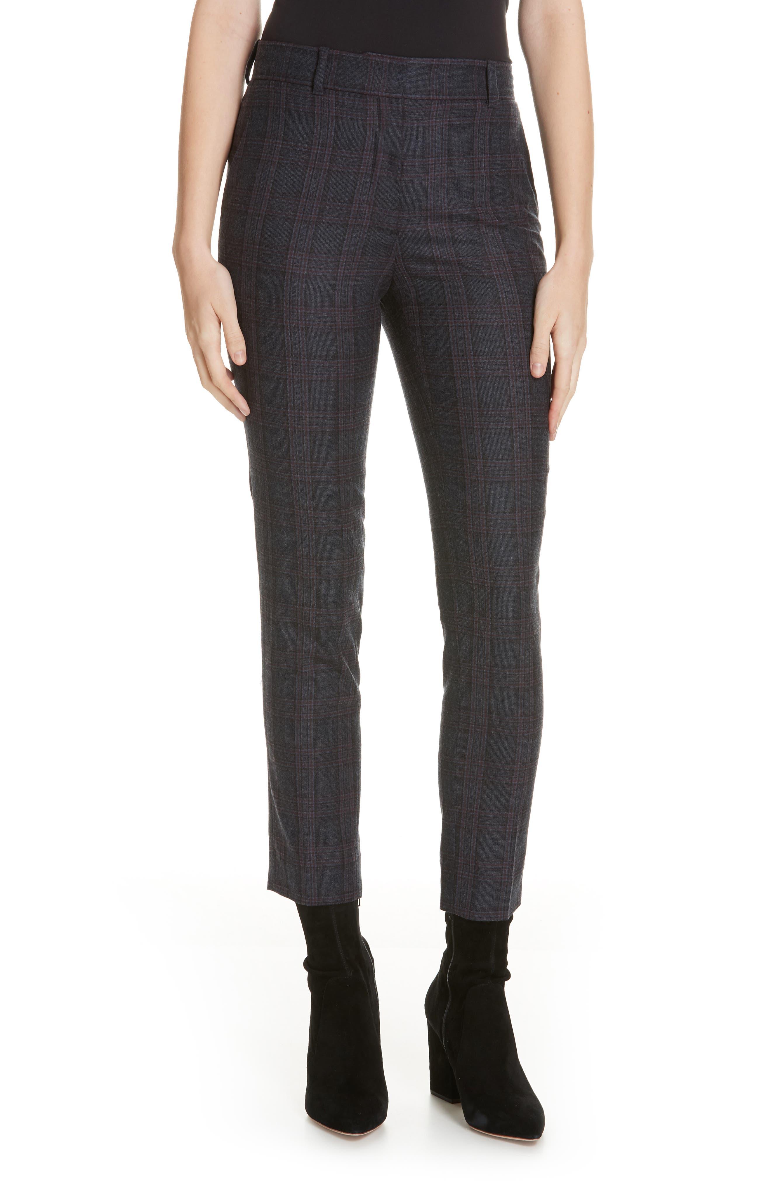 Plaid Stretch Wool Blend Pants,                         Main,                         color, BLUE