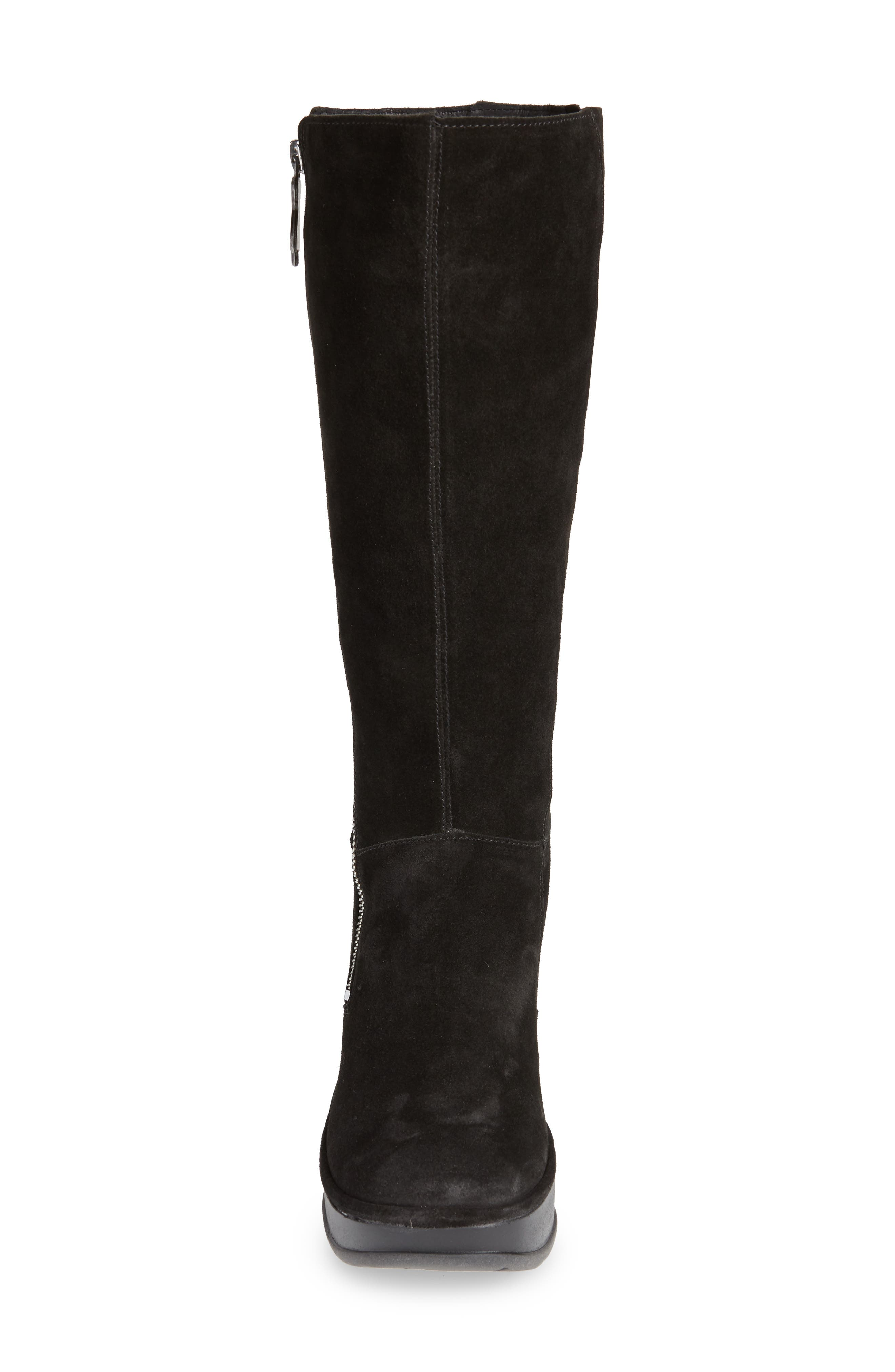 Jate Wedge Boot,                             Alternate thumbnail 4, color,                             BLACK OIL SUEDE