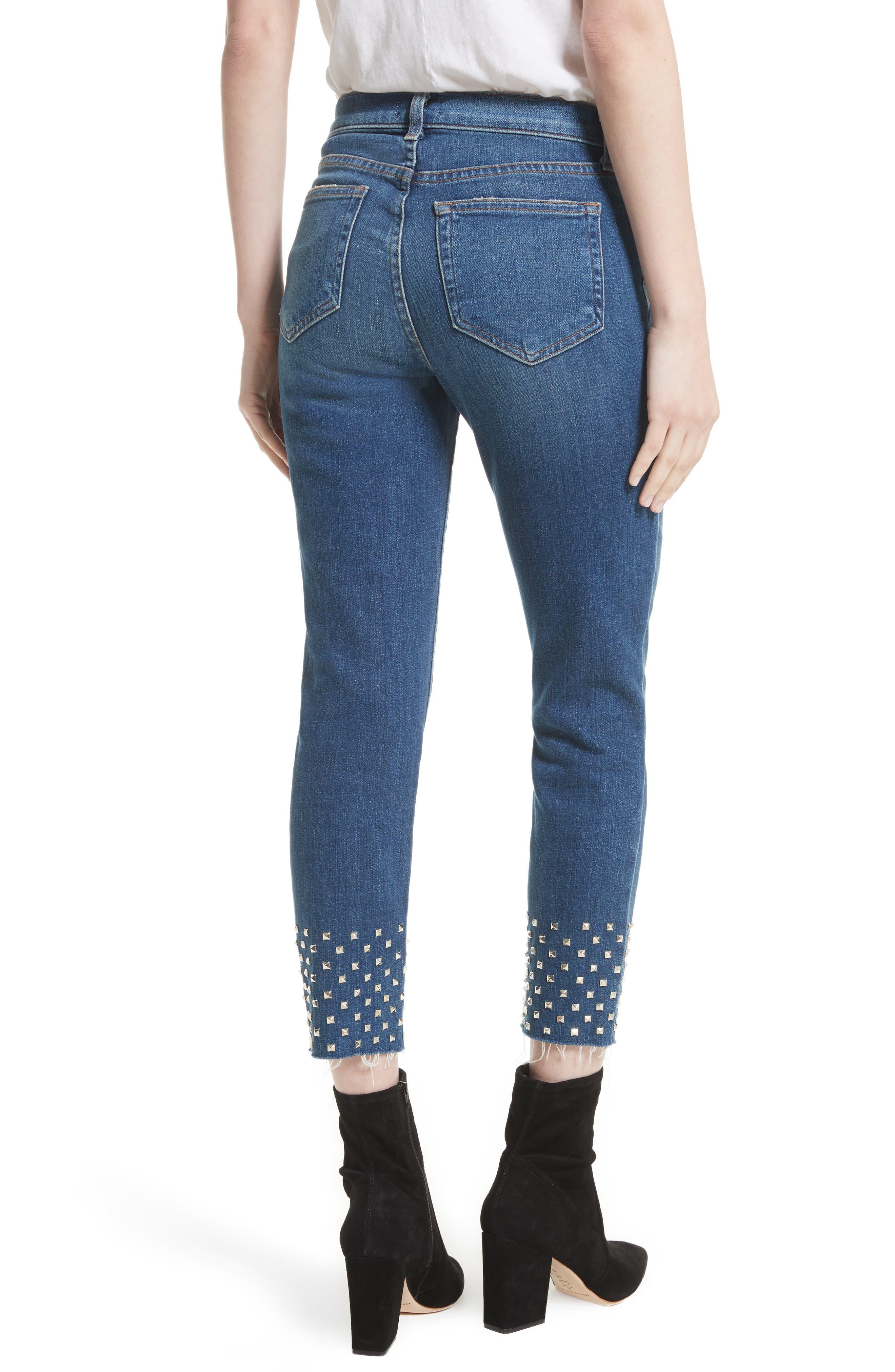 Anjelique Studded Ankle Skinny Jeans,                             Alternate thumbnail 2, color,                             400