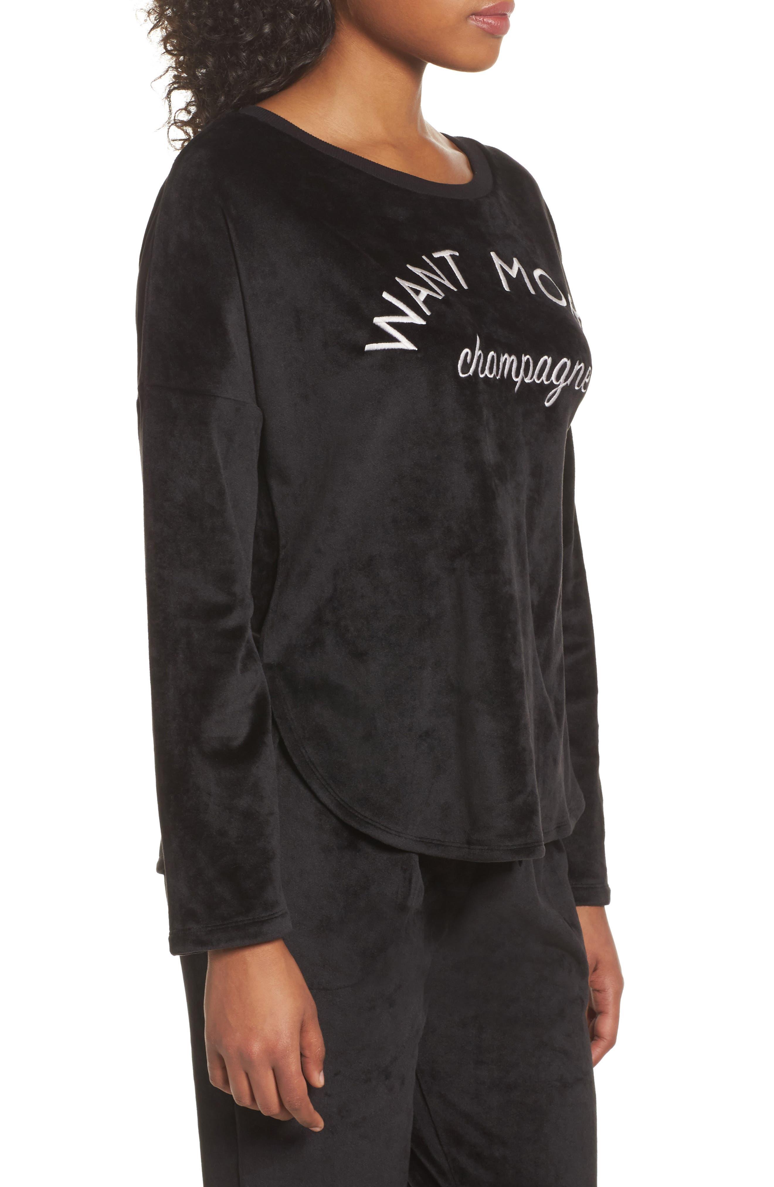 Luxury Plush Sweatshirt,                             Alternate thumbnail 3, color,                             001