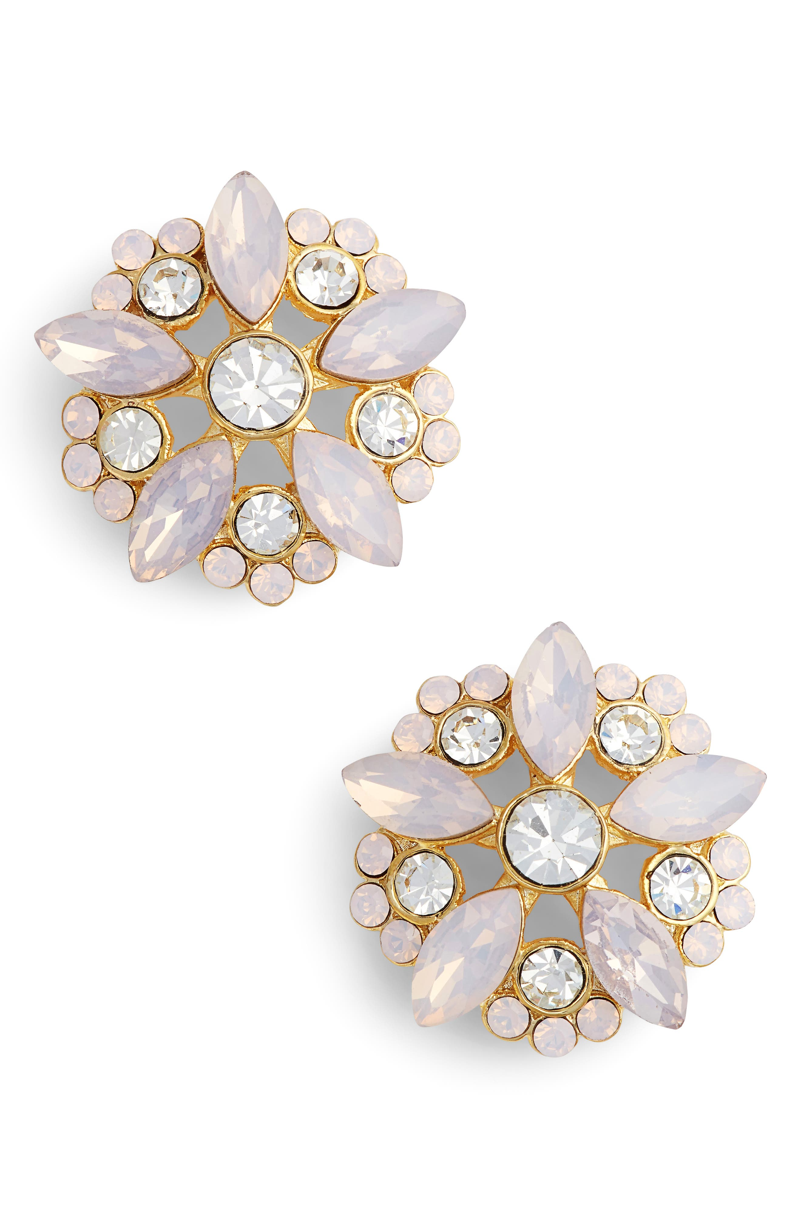 Floral Stud Earrings,                         Main,                         color, GOLD/ PINK OPAL/ WHITE CRYSTAL