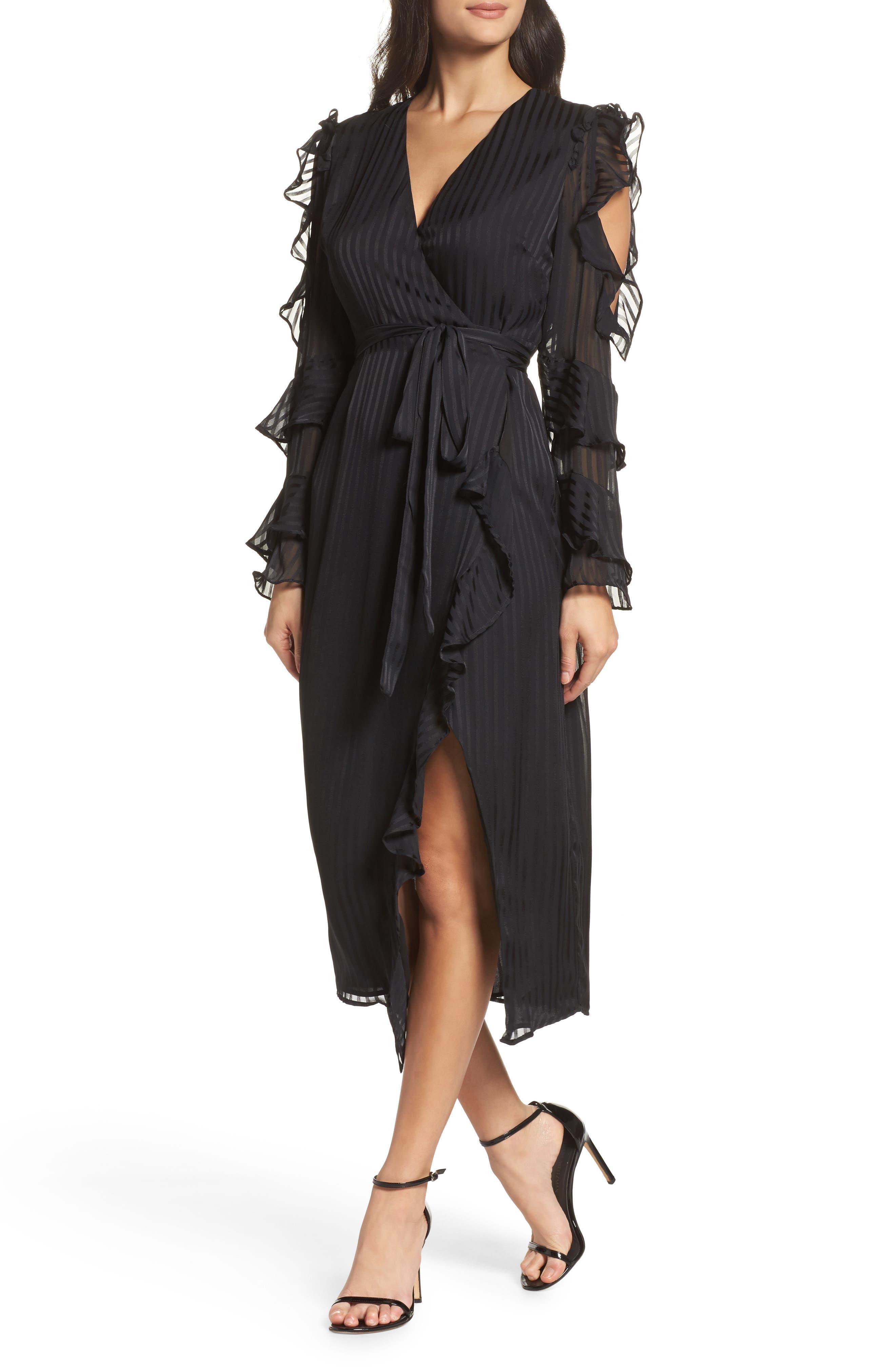 Midnight Cold Shoulder Wrap Dress, Main, color, 001