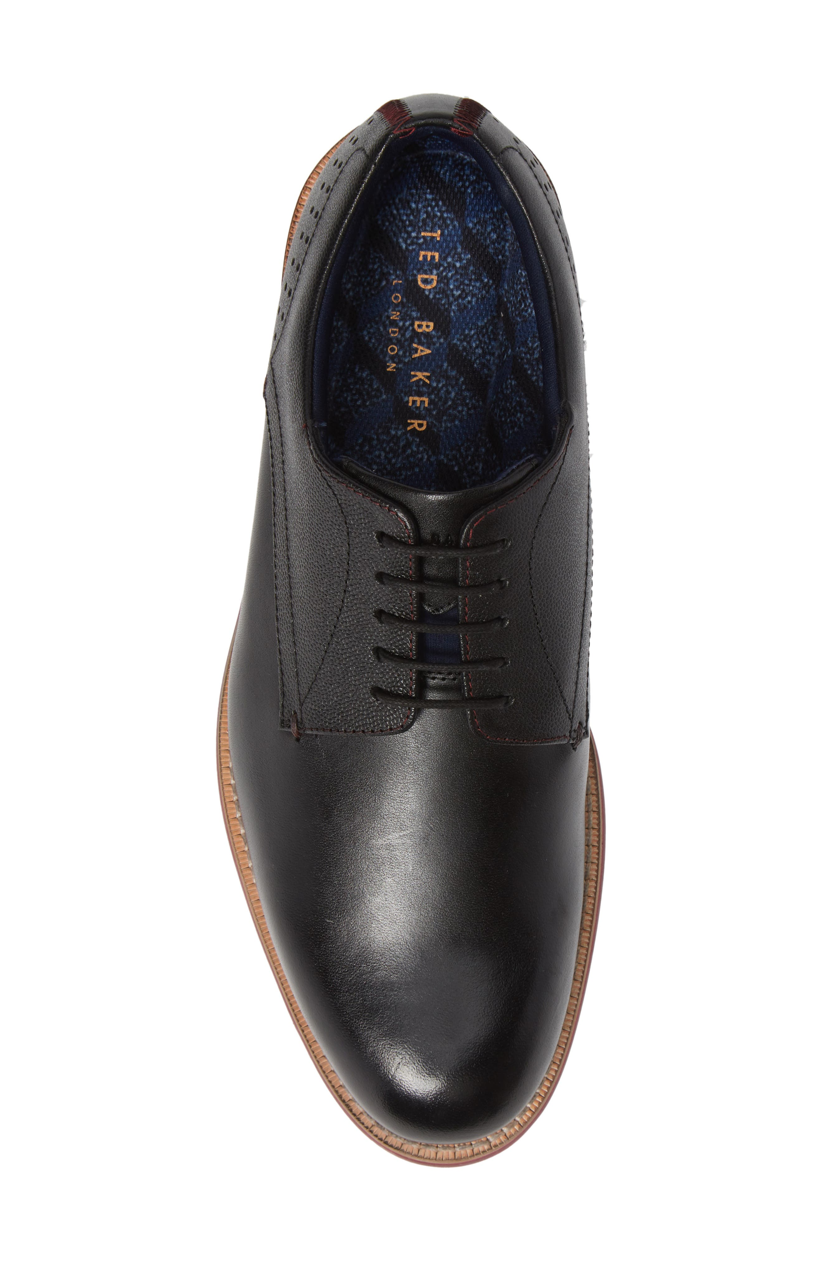 Jhorge Plain Toe Derby,                             Alternate thumbnail 5, color,                             BLACK LEATHER