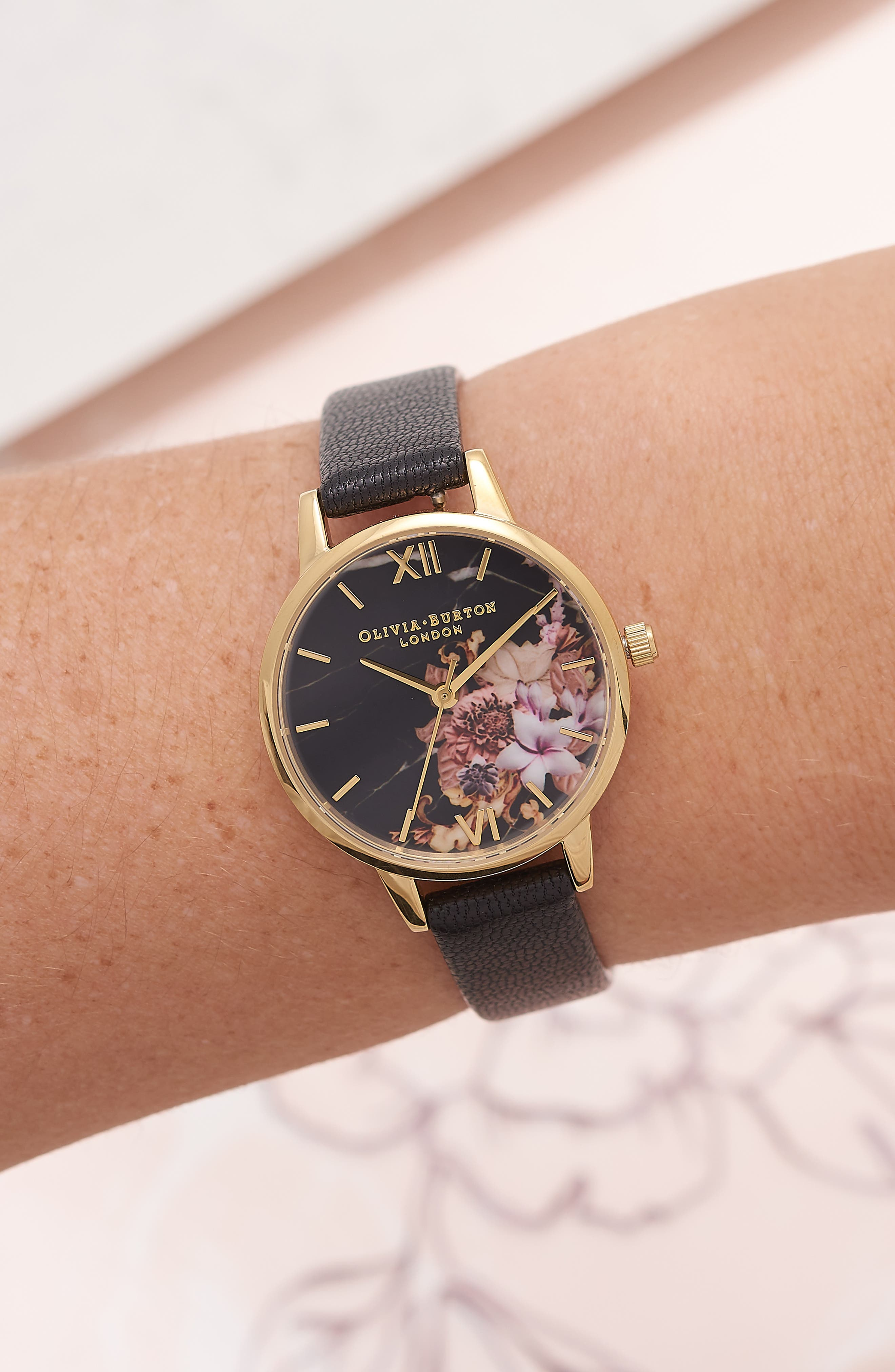 Marble Floral Leather Strap Watch, 30mm,                             Alternate thumbnail 2, color,                             001
