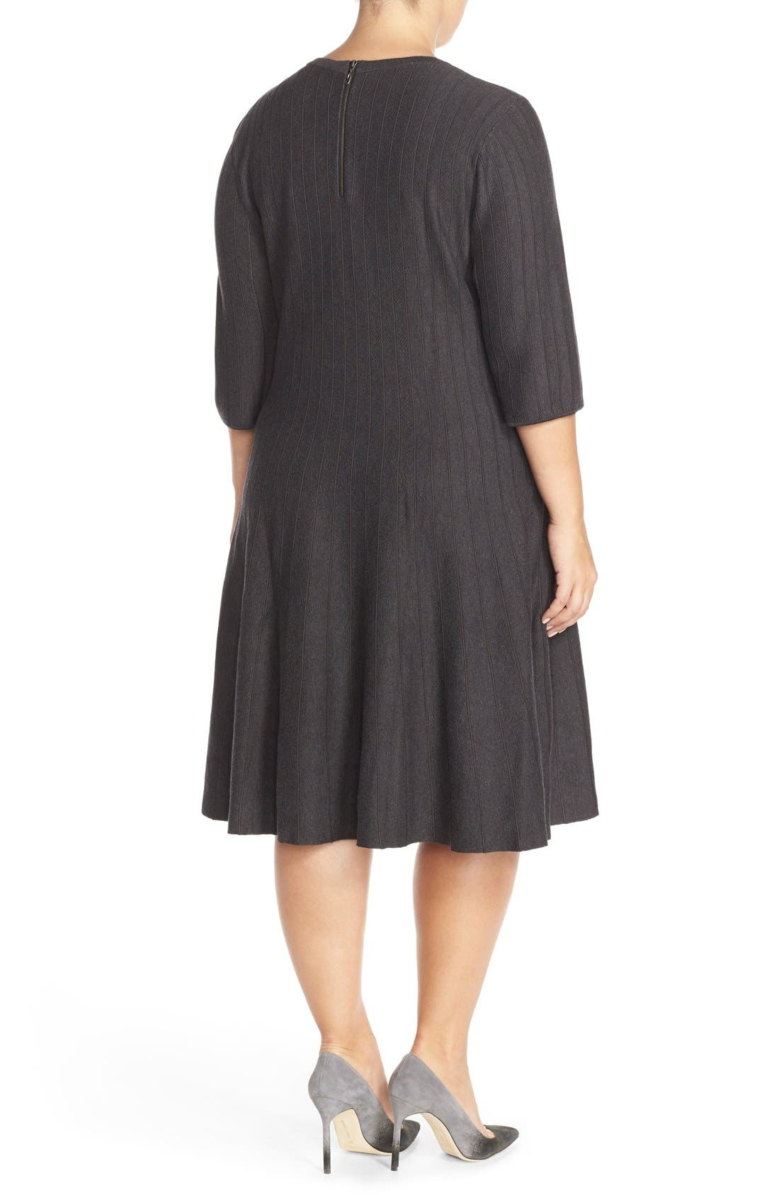 'Twirl' Elbow Sleeve Knit Fit & Flare Dress,                             Alternate thumbnail 3, color,                             PHANTOM HEATHER