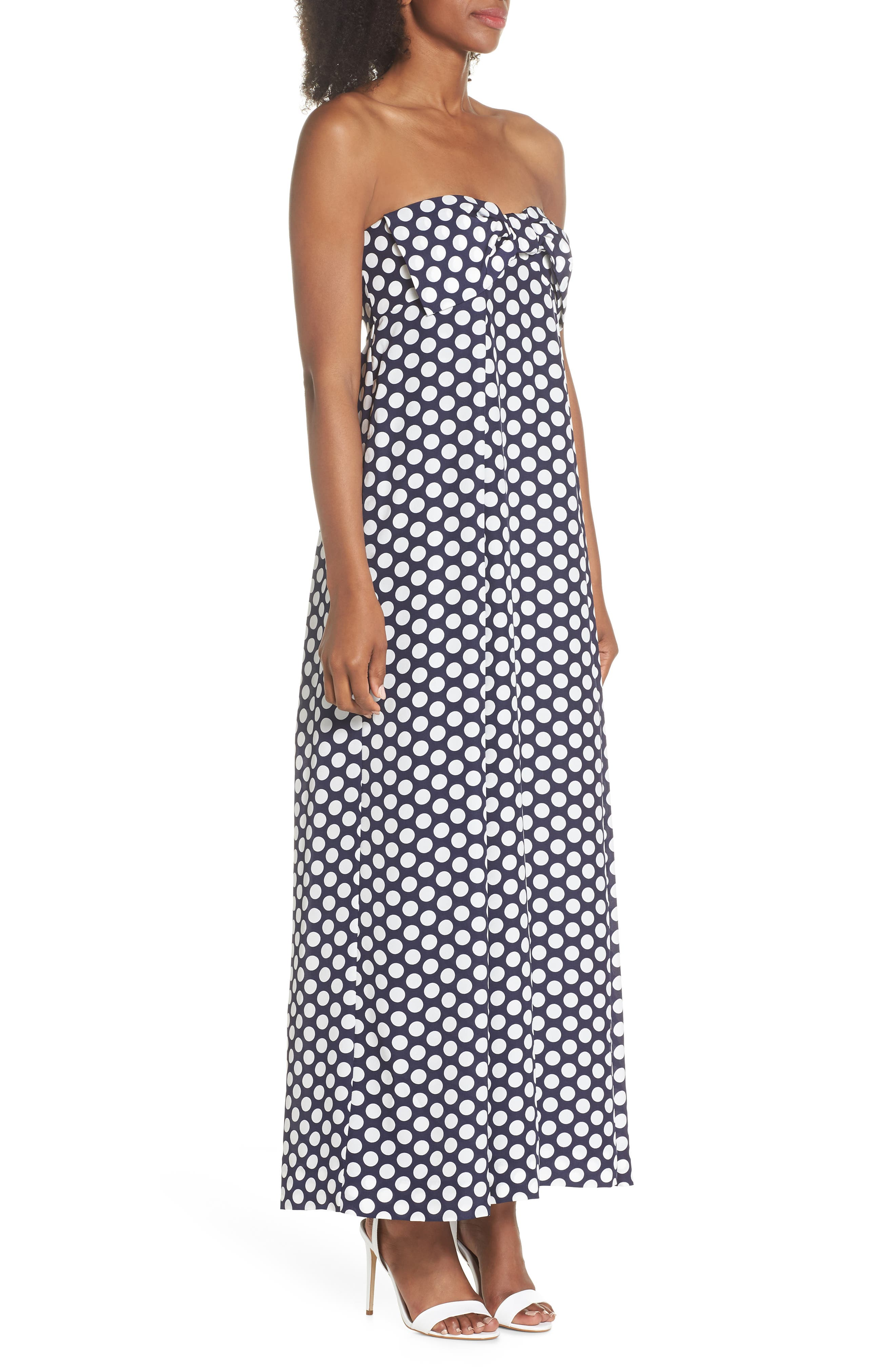 Strapless Dot Tie Front Maxi Dress,                             Alternate thumbnail 3, color,                             400