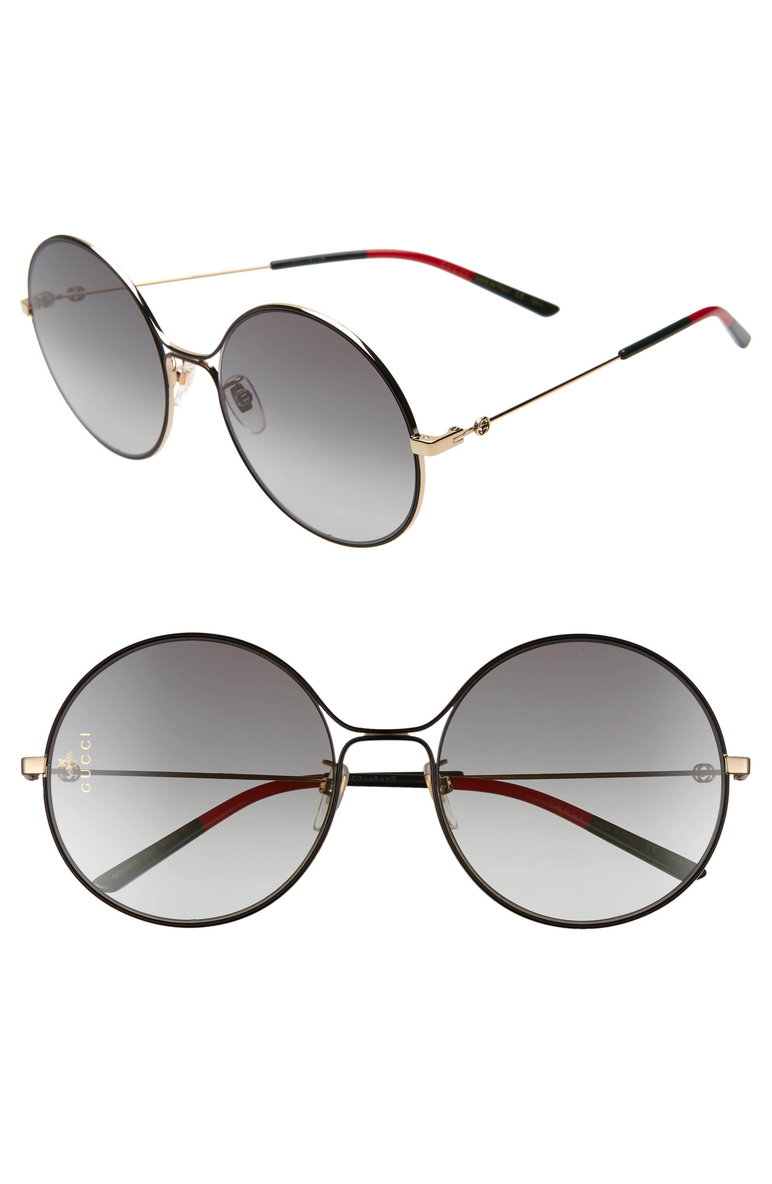 58mm Round Sunglasses, Main, color, GOLD/ BLACK/ GREY GRADIENT