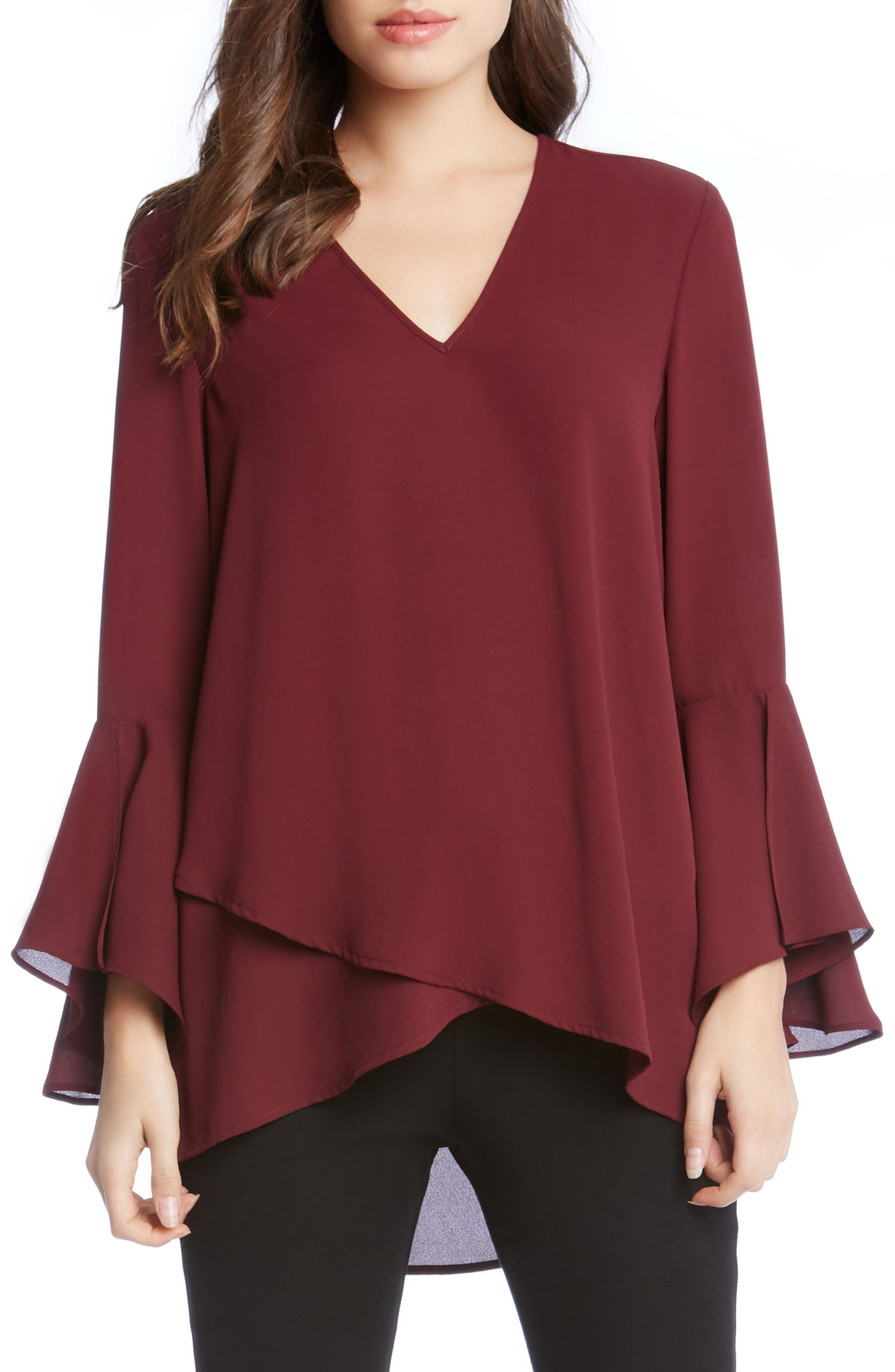 Slit Sleeve High/Low Top,                             Main thumbnail 4, color,