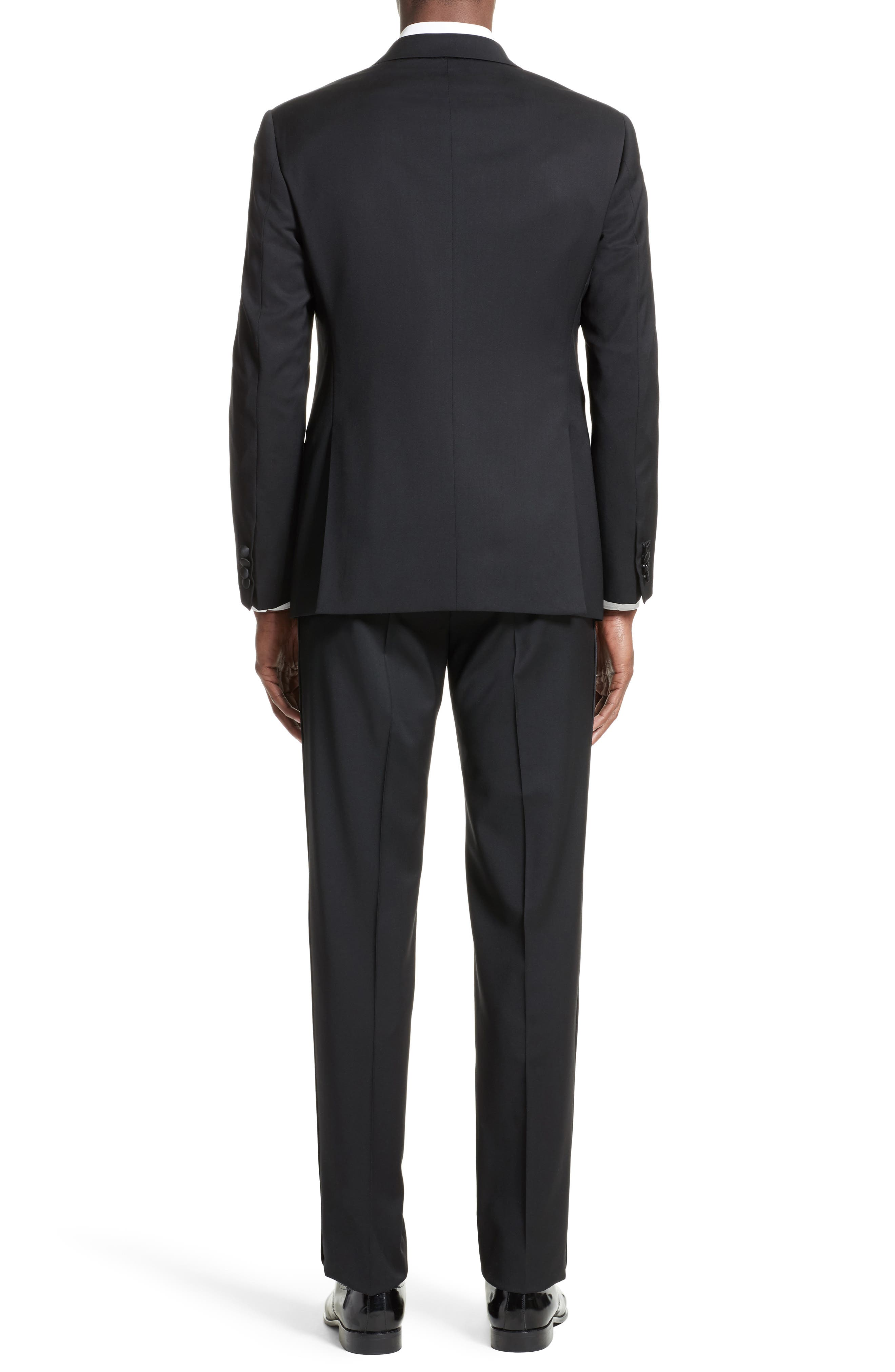 Trim Fit Wool Tuxedo,                             Alternate thumbnail 3, color,                             001