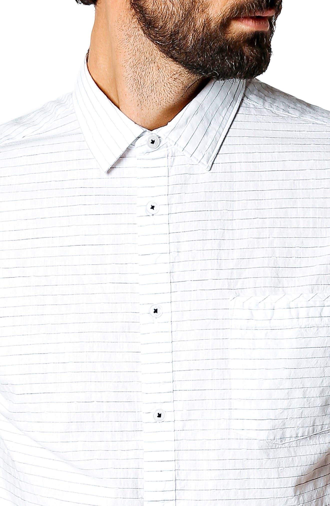 Longboard Trim Fit Stripe Sport Shirt,                             Alternate thumbnail 4, color,                             WHITE