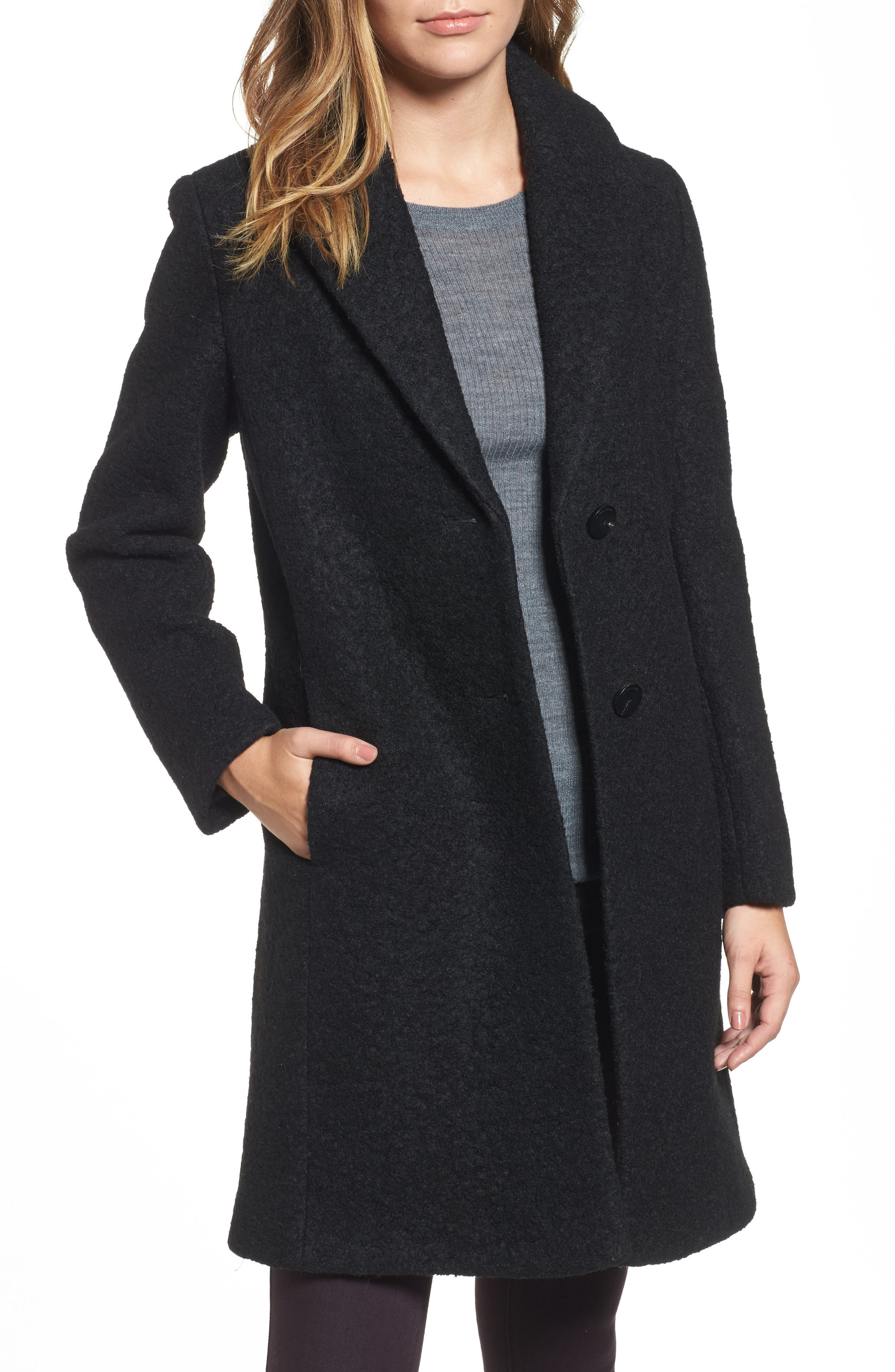 'Tessa' Boiled Wool Blend Coat,                             Main thumbnail 1, color,                             001
