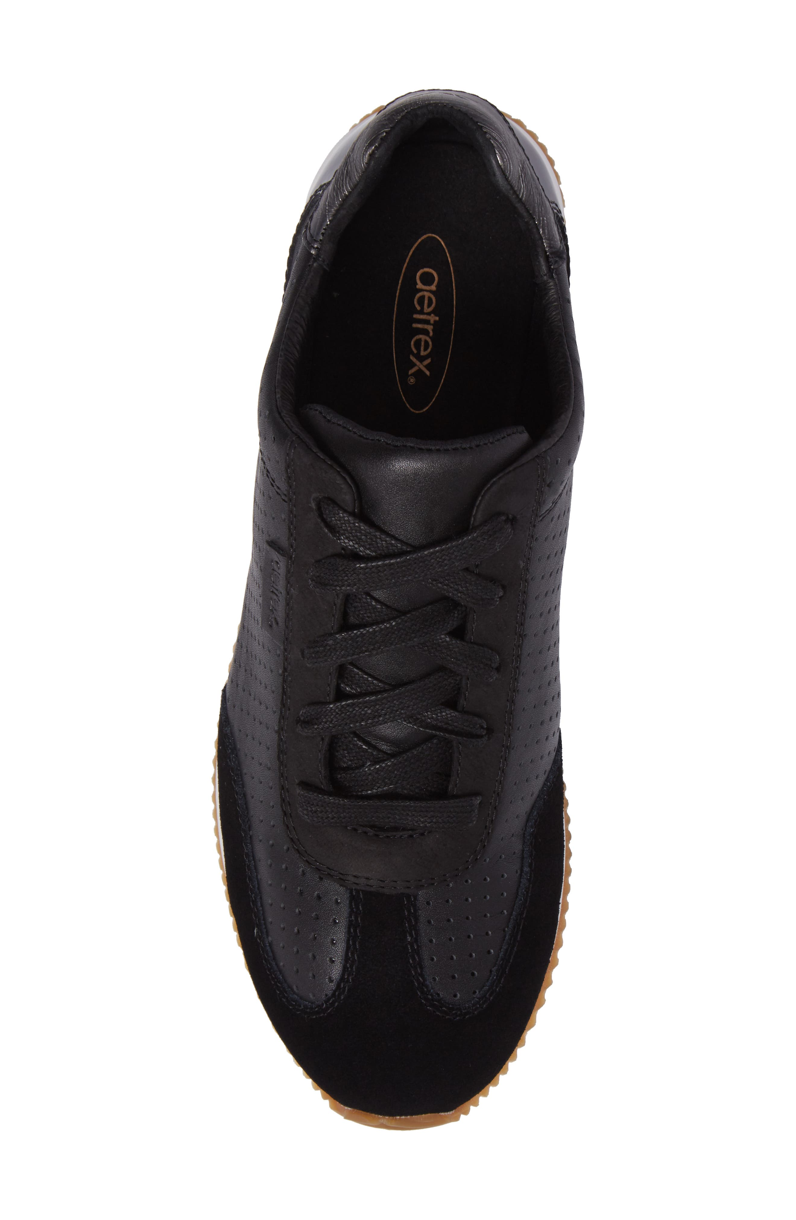 Nadia Sneaker,                             Alternate thumbnail 5, color,                             BLACK LEATHER