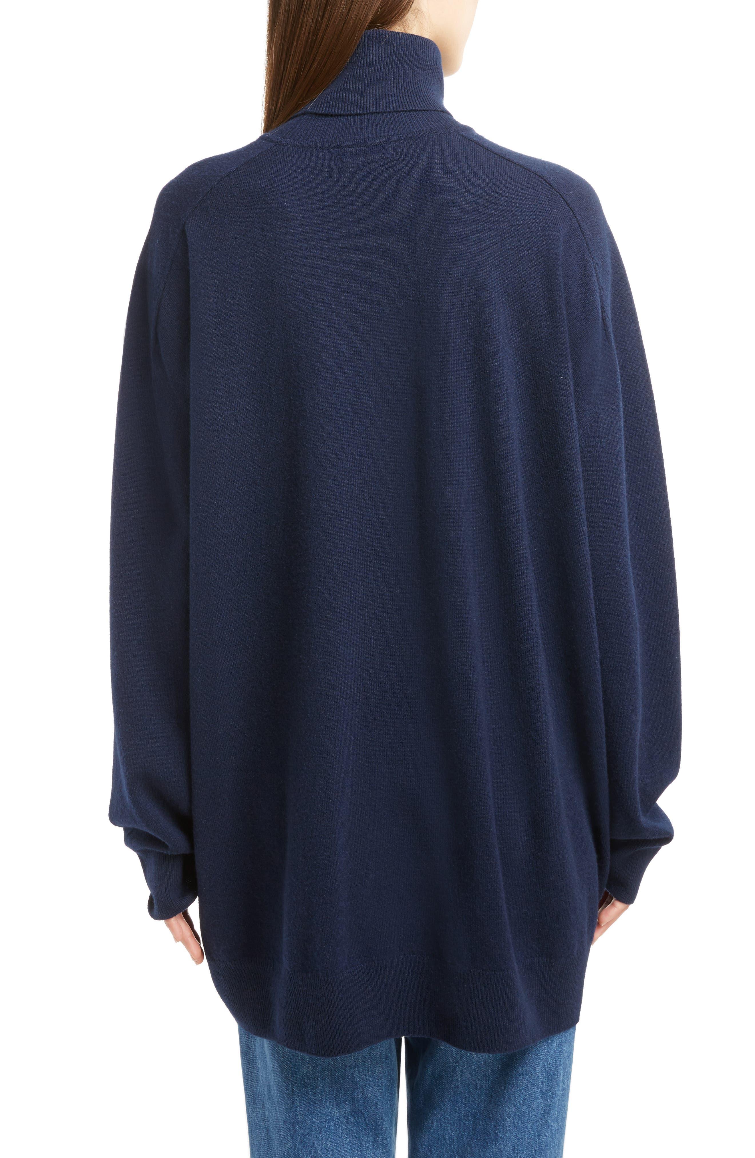 Oversized Cashmere Turtleneck Sweater,                             Alternate thumbnail 4, color,