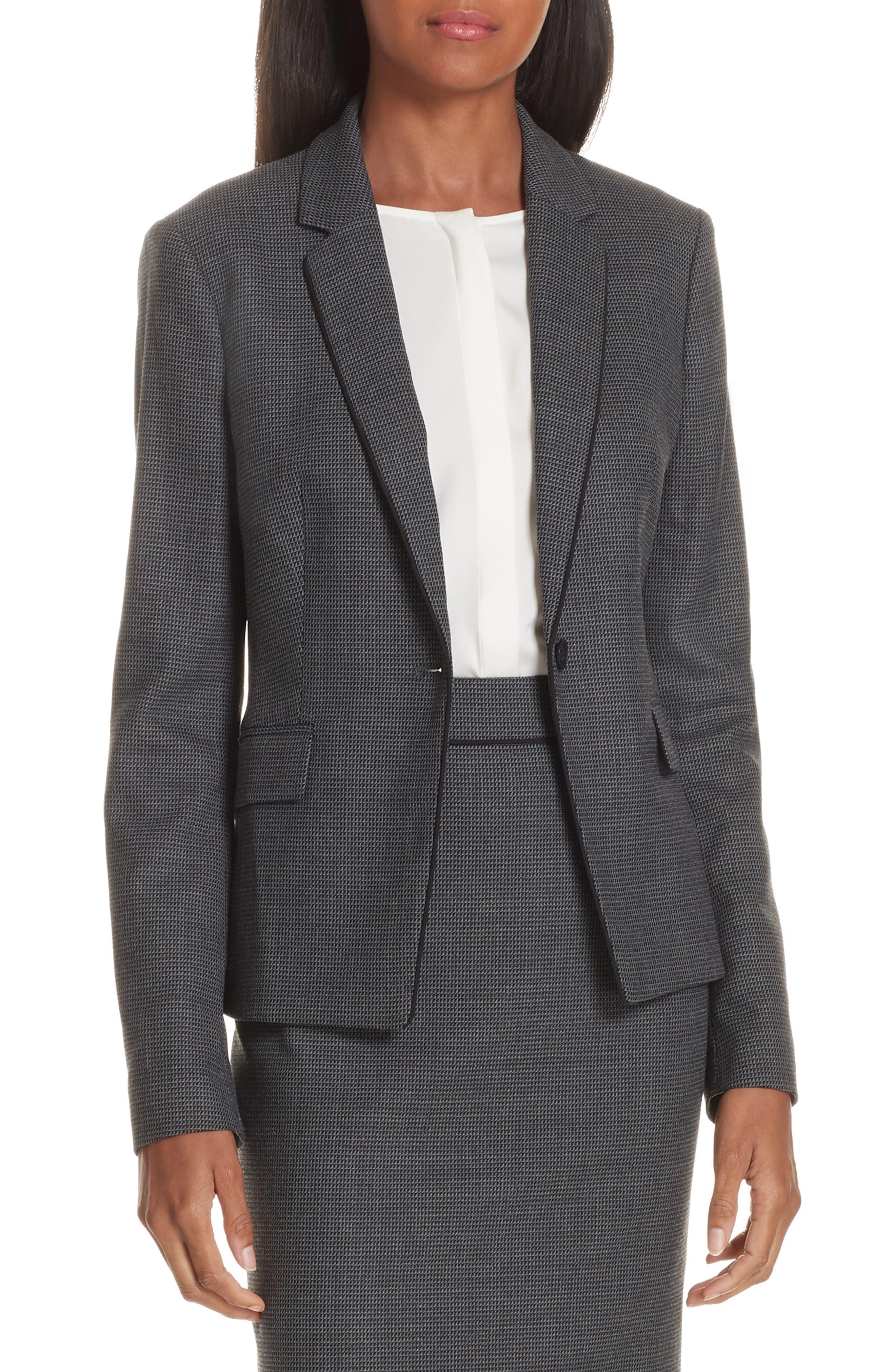 Jorita Geometric Wool Blend Suit Jacket,                             Main thumbnail 1, color,                             GREY FANTASY