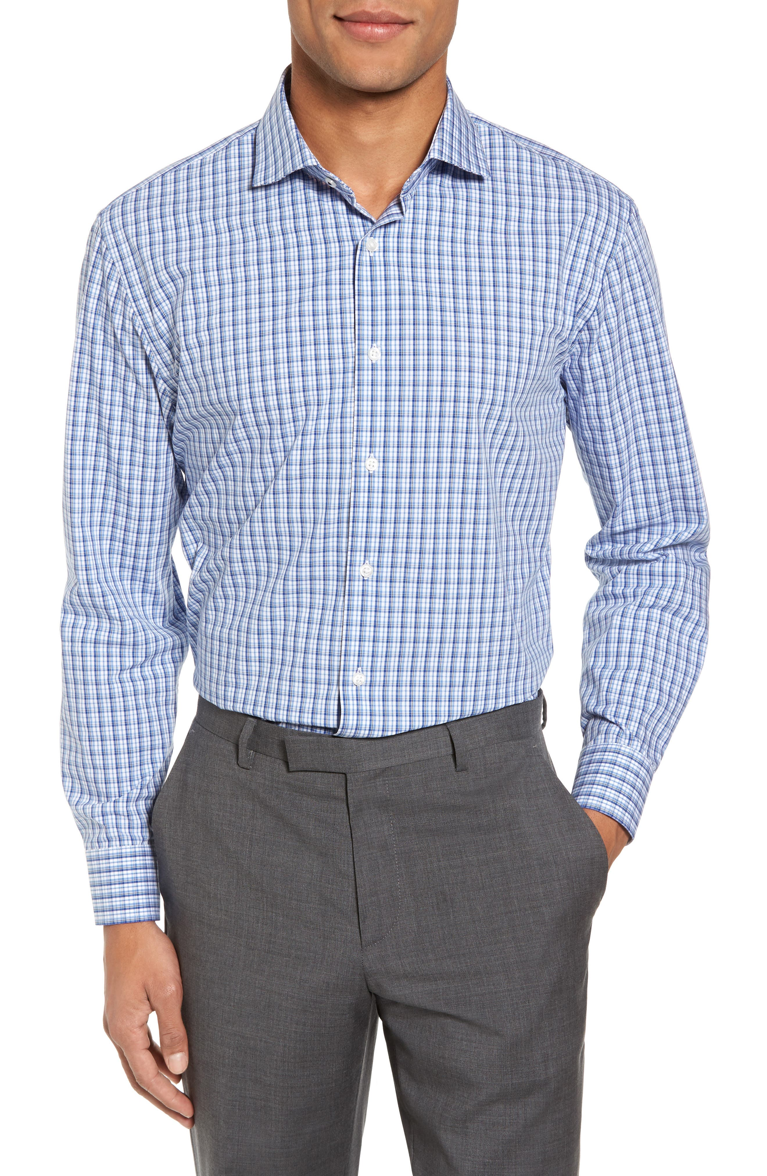 Tech-Smart Trim Fit Stretch Plaid Dress Shirt,                             Main thumbnail 1, color,                             401
