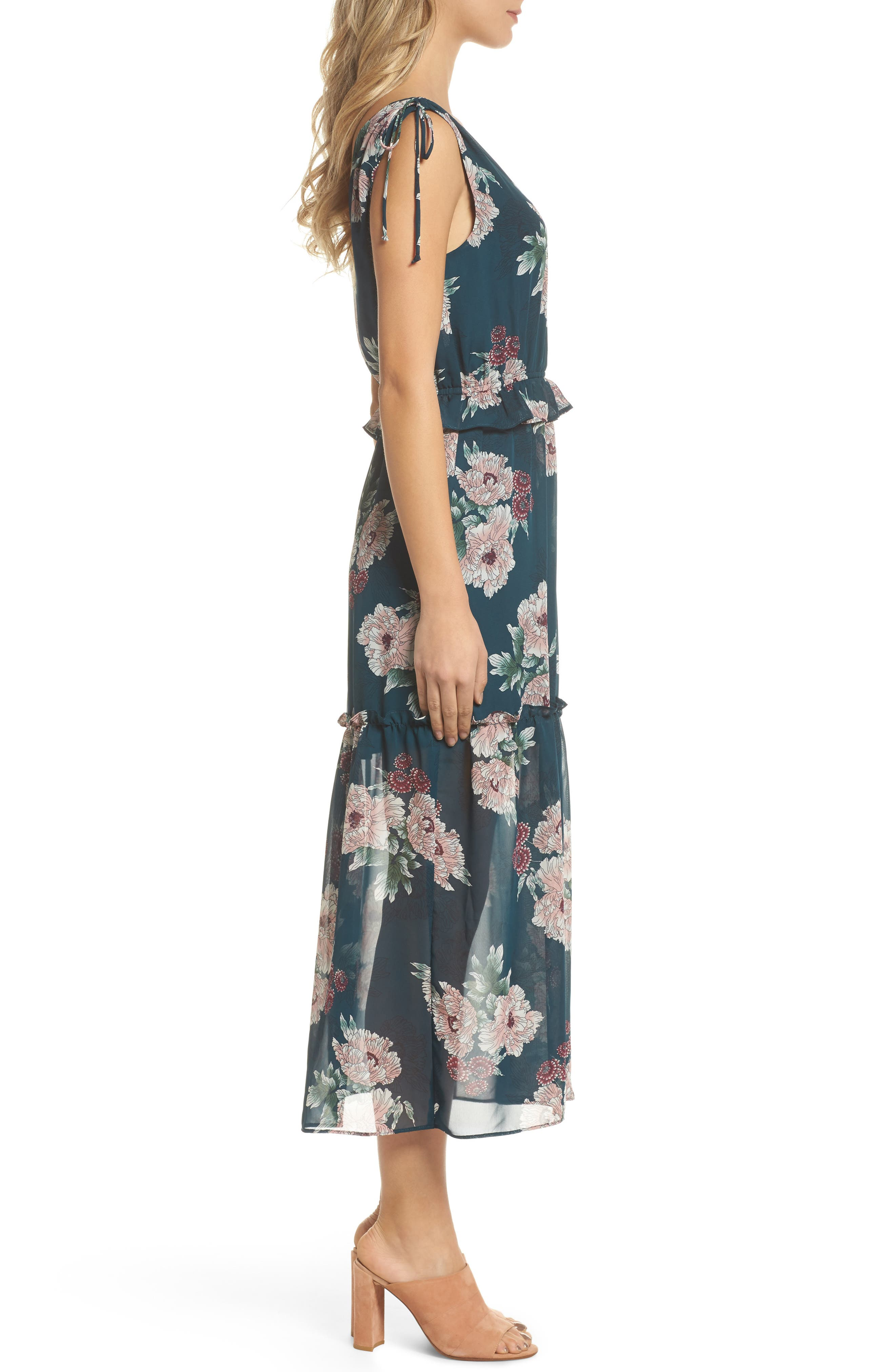 Floral Midi Dress,                             Alternate thumbnail 3, color,                             348