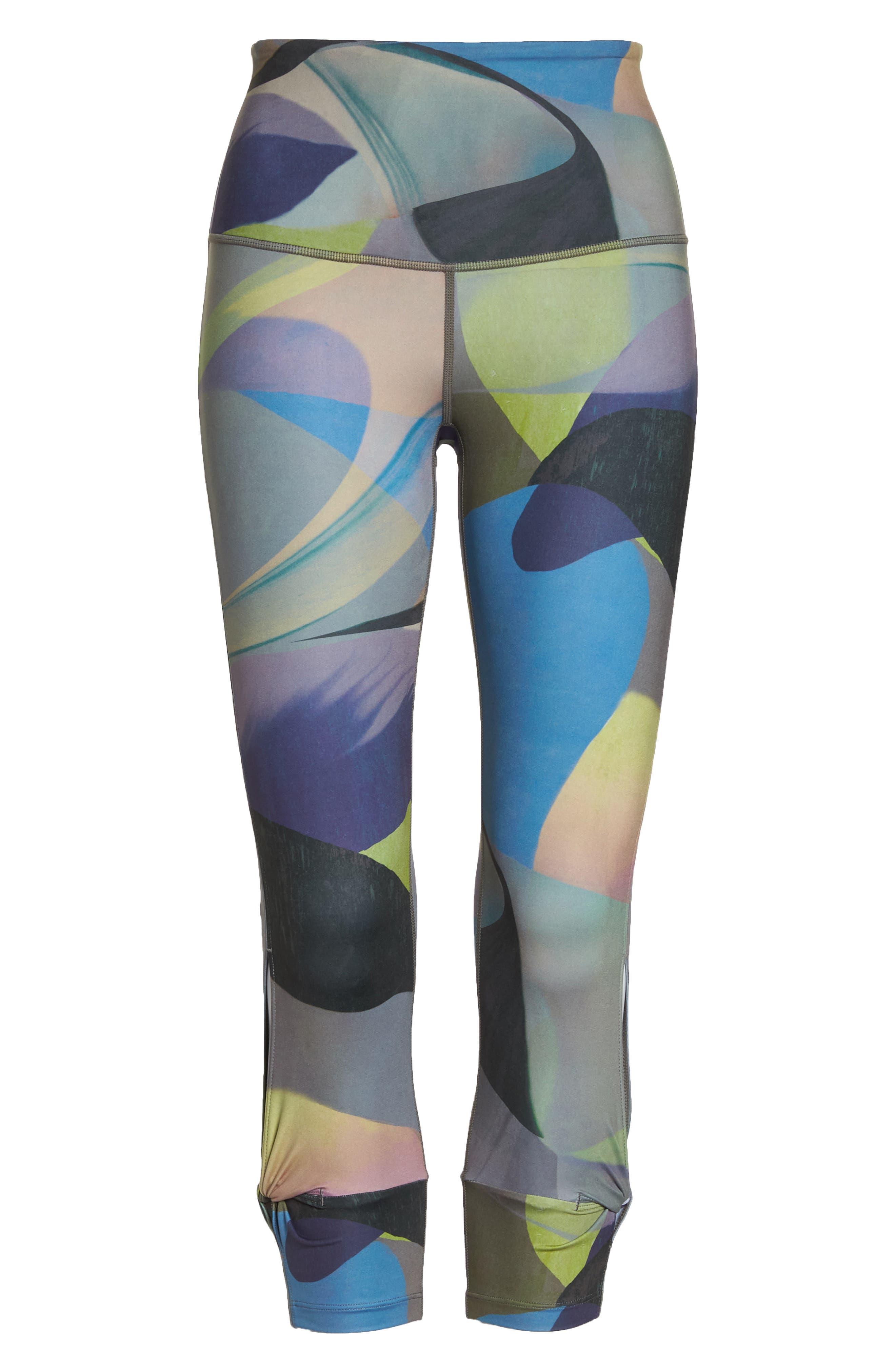Katya High Waist Abstract Print Recycled Crop Leggings,                             Alternate thumbnail 7, color,                             GREY URBAN ABSTRACT BOTANICAL