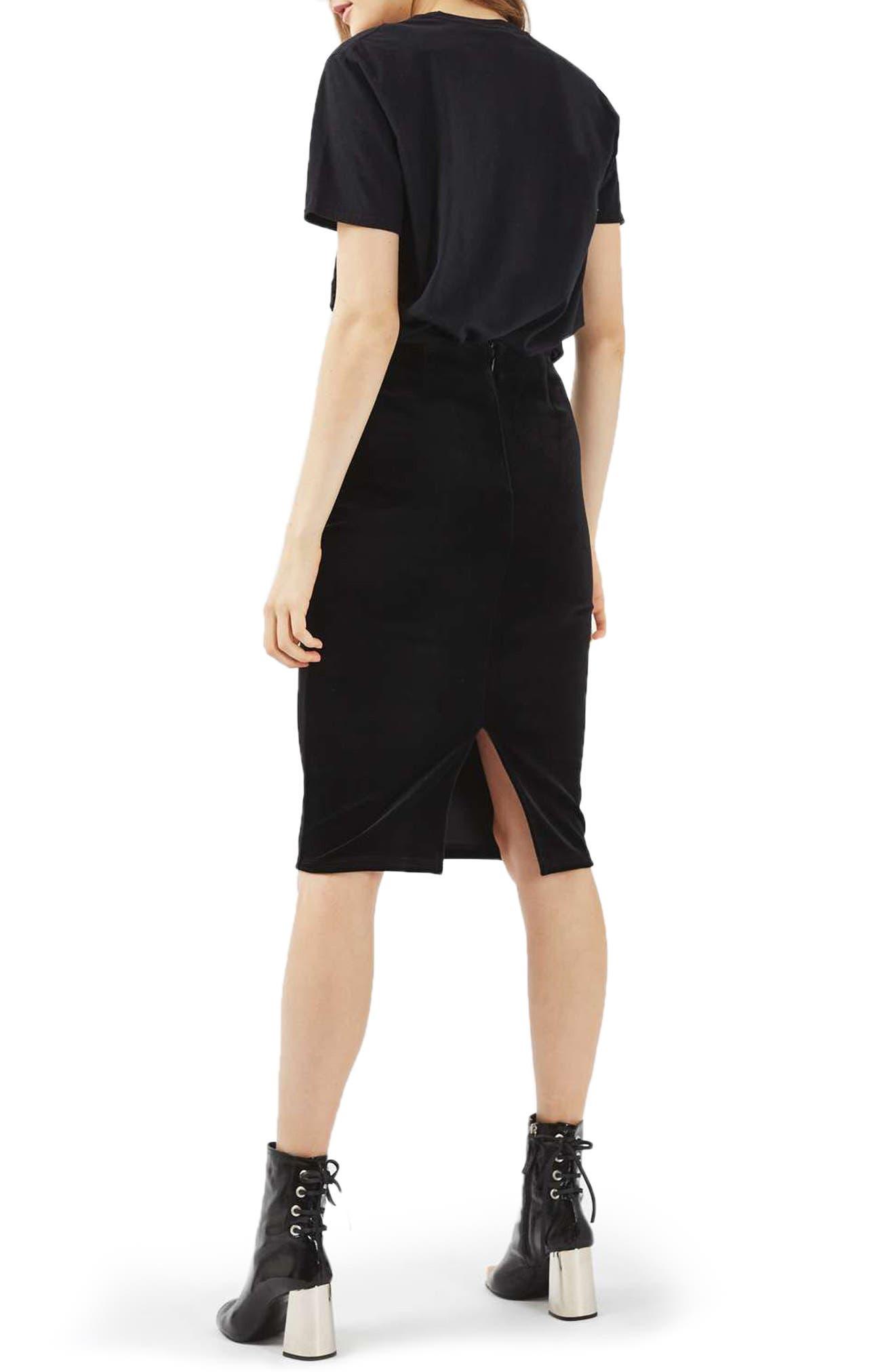 Velvet Pencil Skirt, Main, color, 001