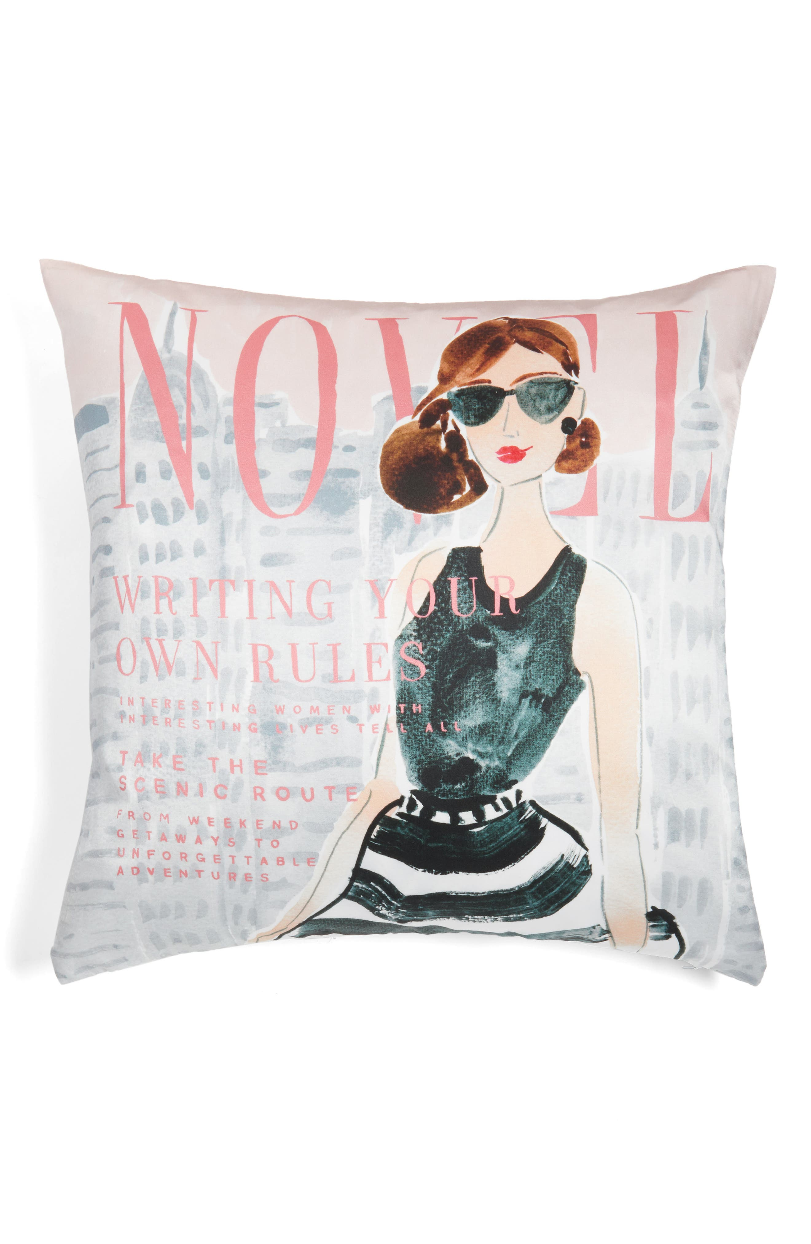 vogue - writing your own rules accent pillow,                             Alternate thumbnail 2, color,                             BLACK/ MULTI