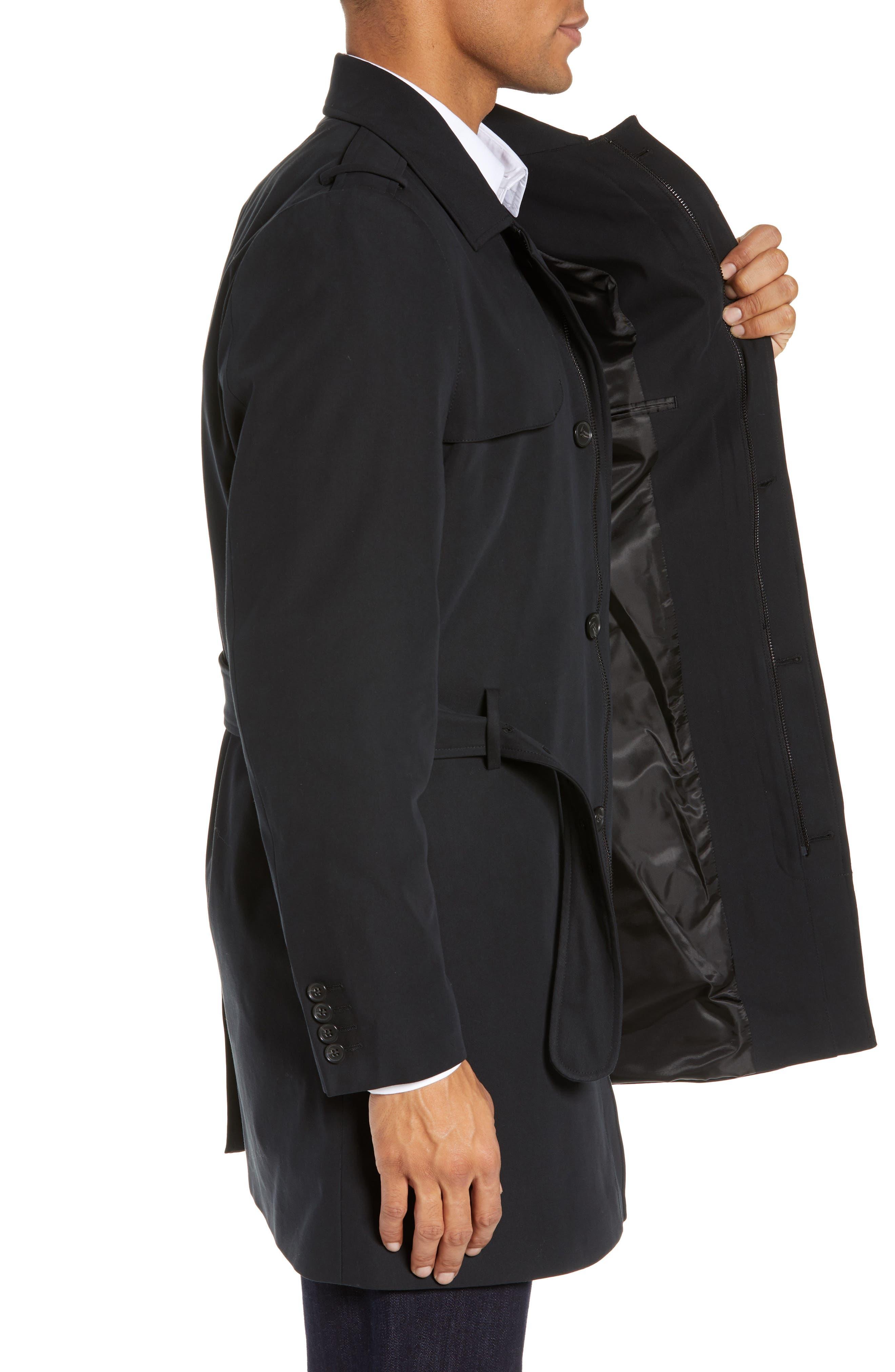 Clean Short Trench Coat,                             Alternate thumbnail 3, color,                             BLACK
