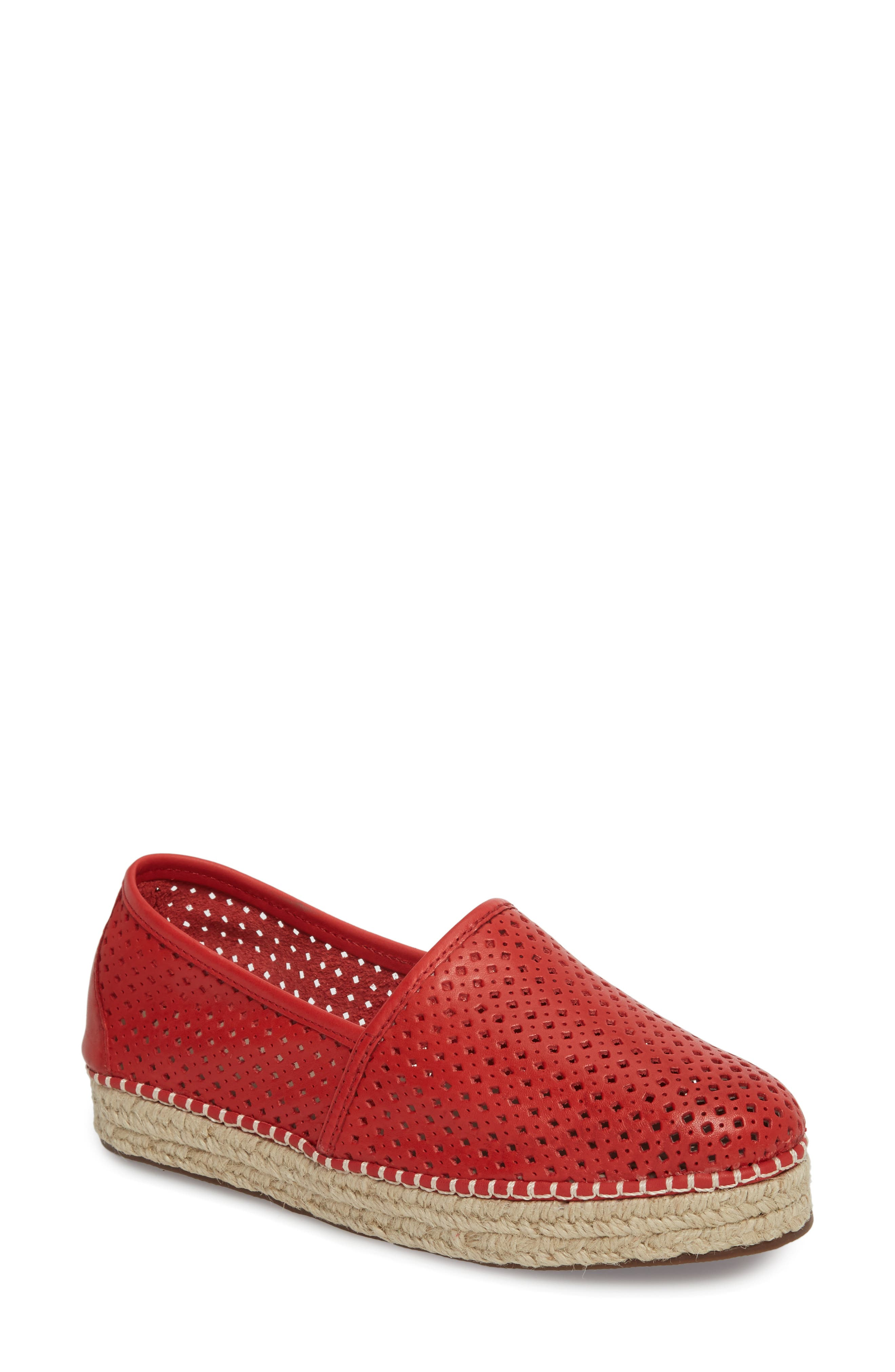 Brett Espadrille Flat,                         Main,                         color, RED LEATHER