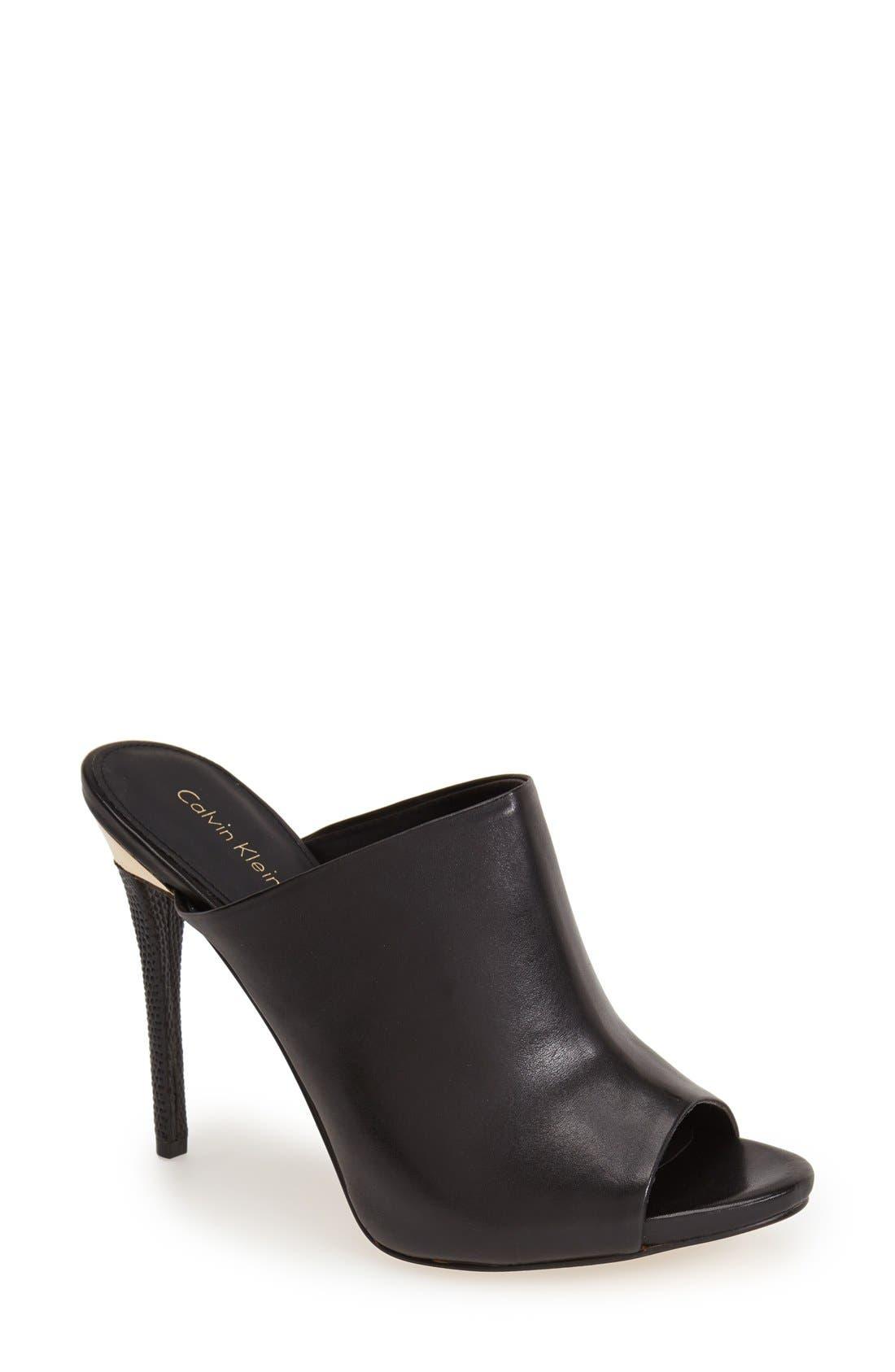 CALVIN KLEIN 'Gradyn' Peep Toe Mule Sandal, Main, color, 001