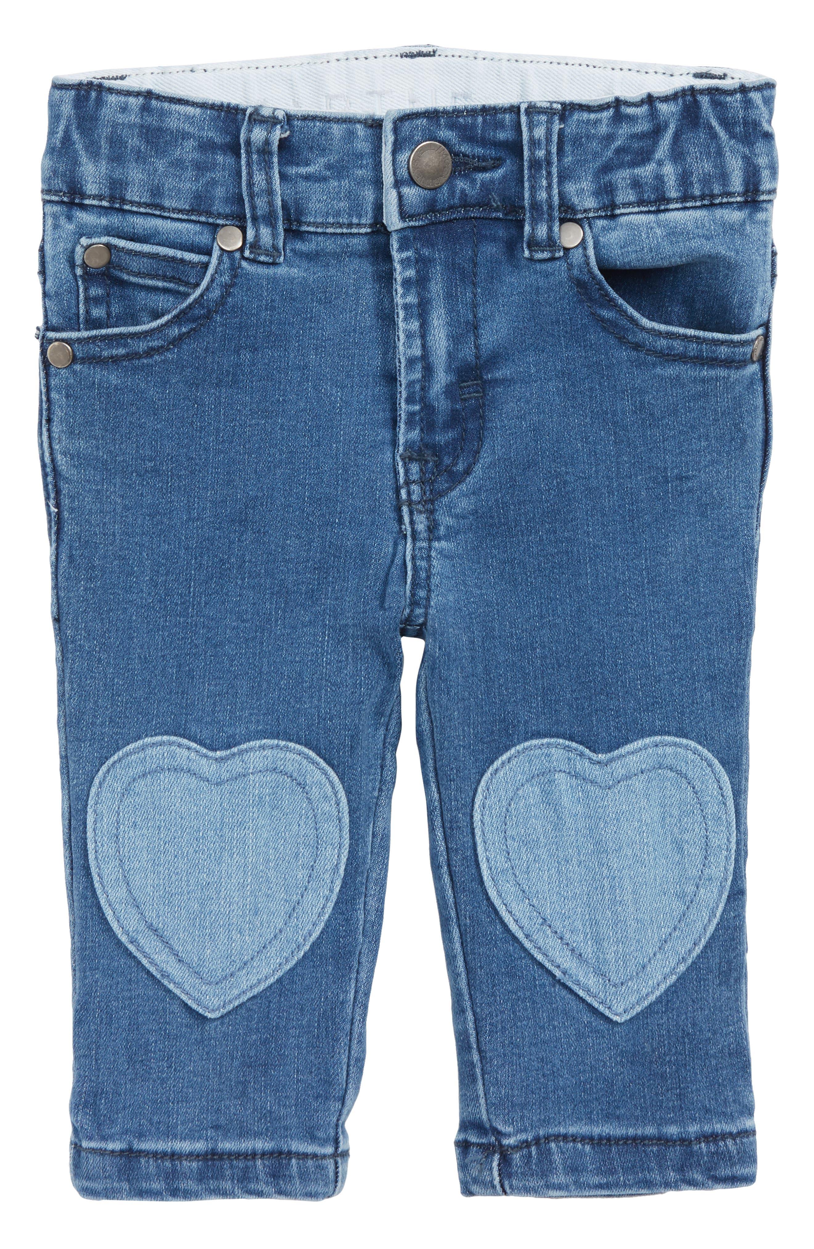 Bob Heart Patch Jeans,                             Main thumbnail 1, color,                             BLUE