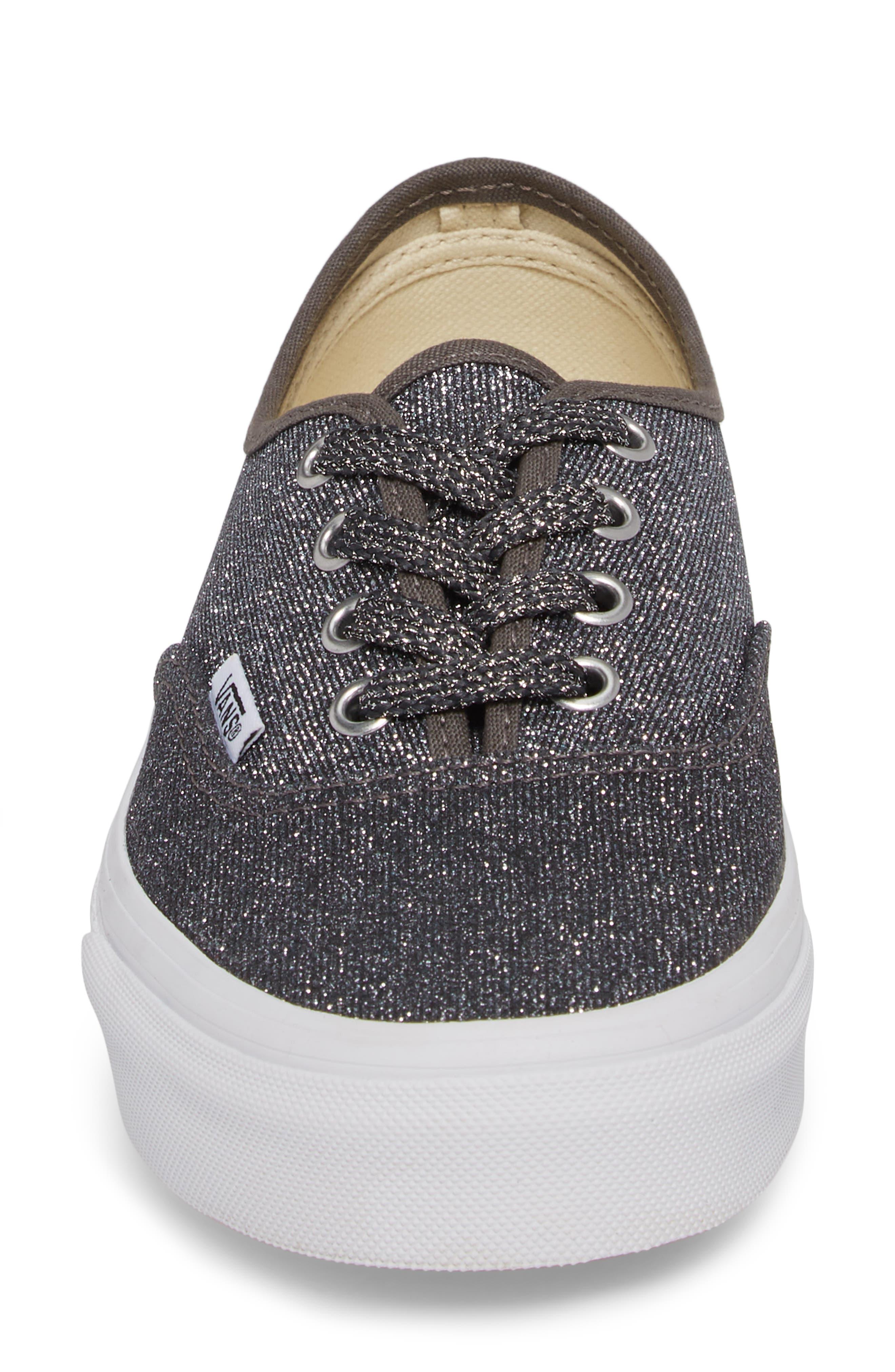 UA Authentic Lurex Sneaker,                             Alternate thumbnail 4, color,                             BLACK/ TRUE WHITE GLITTER