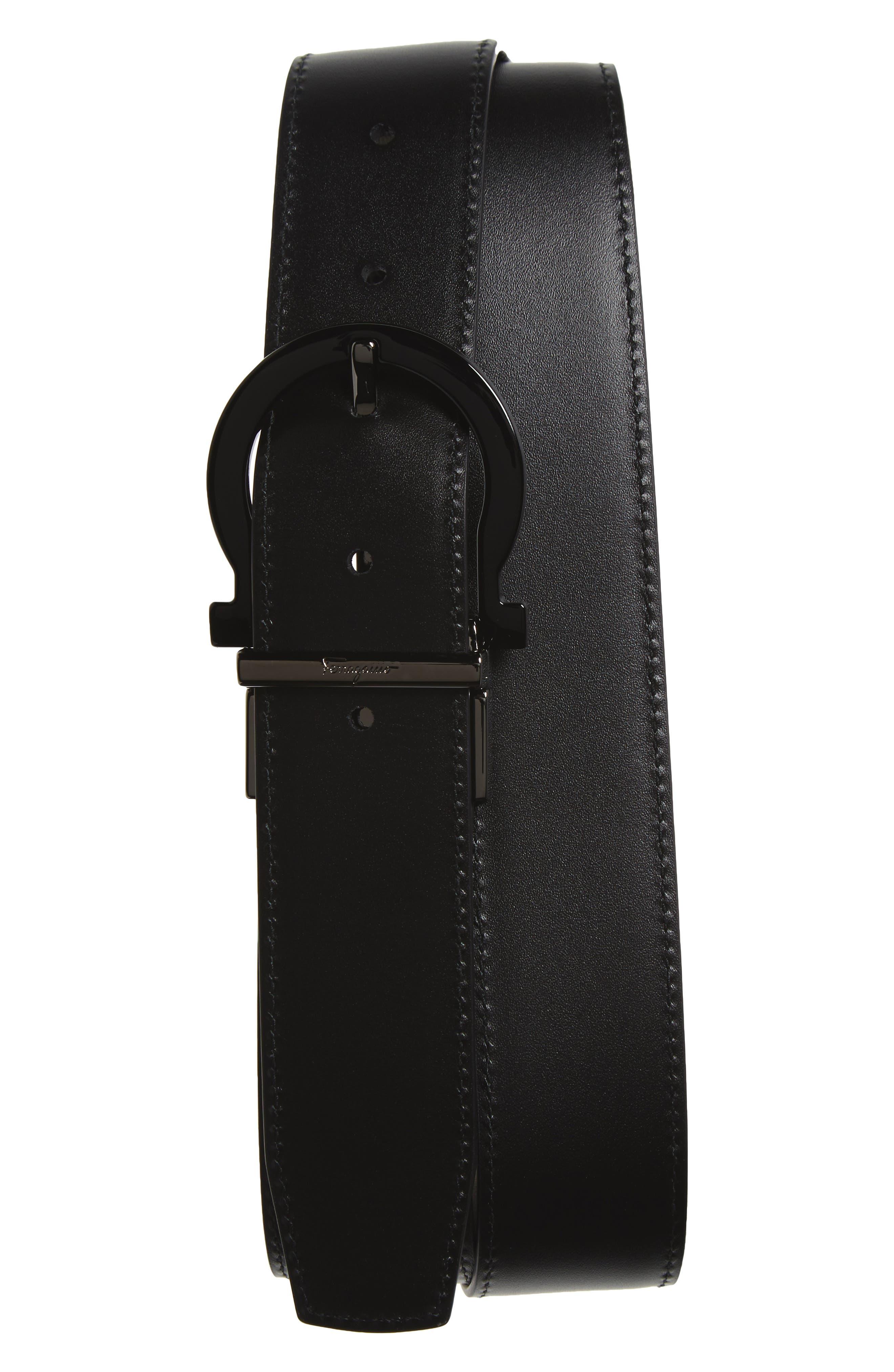 Reversible Calfskin Leather Belt,                             Alternate thumbnail 3, color,                             001