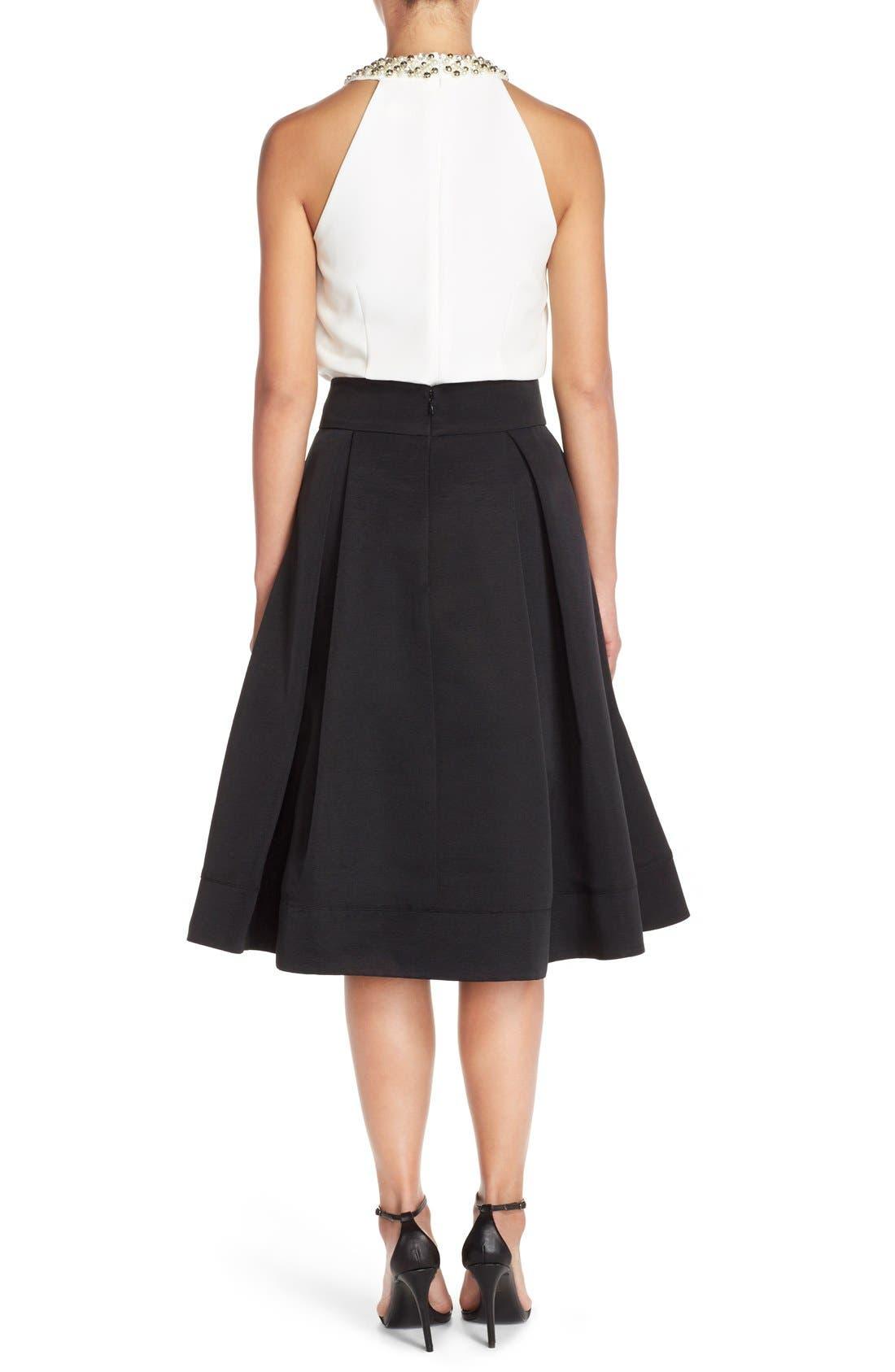 ELIZA J,                             Faille Midi Skirt,                             Alternate thumbnail 4, color,                             001