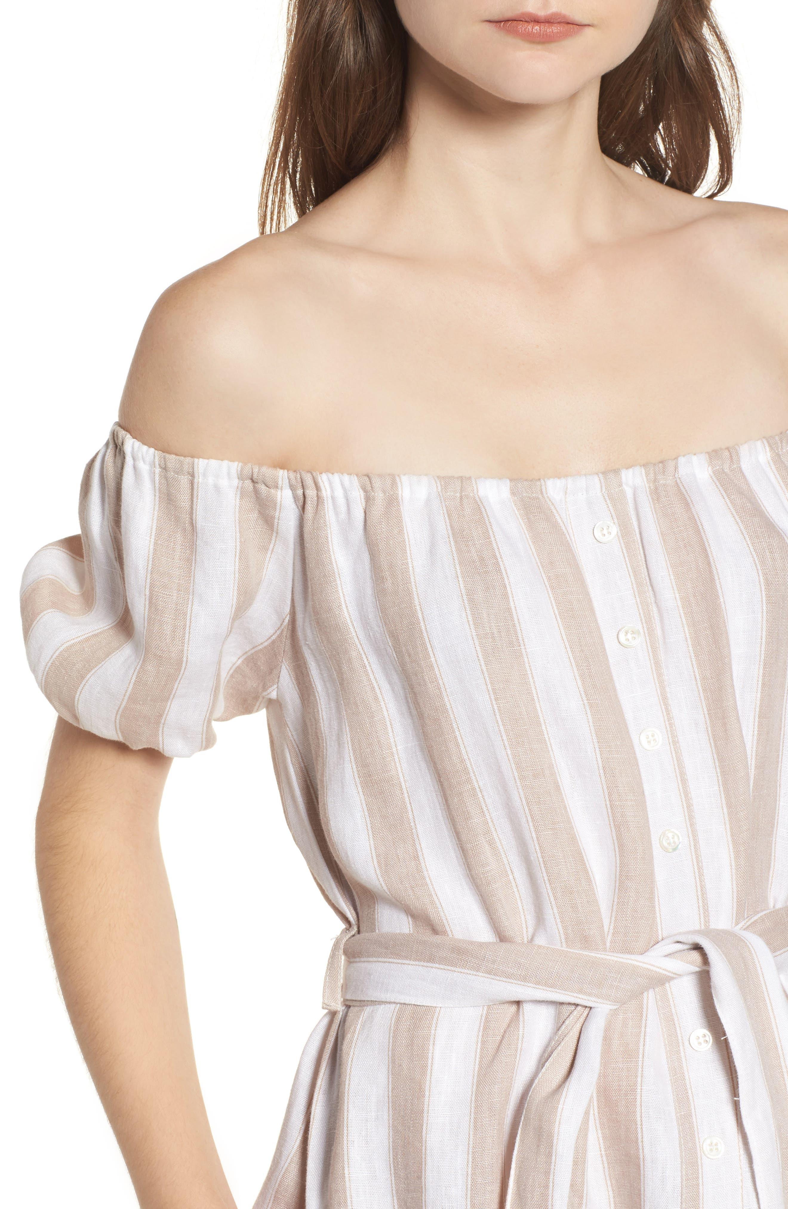 Savoy Off the Shoulder Dress,                             Alternate thumbnail 4, color,                             100