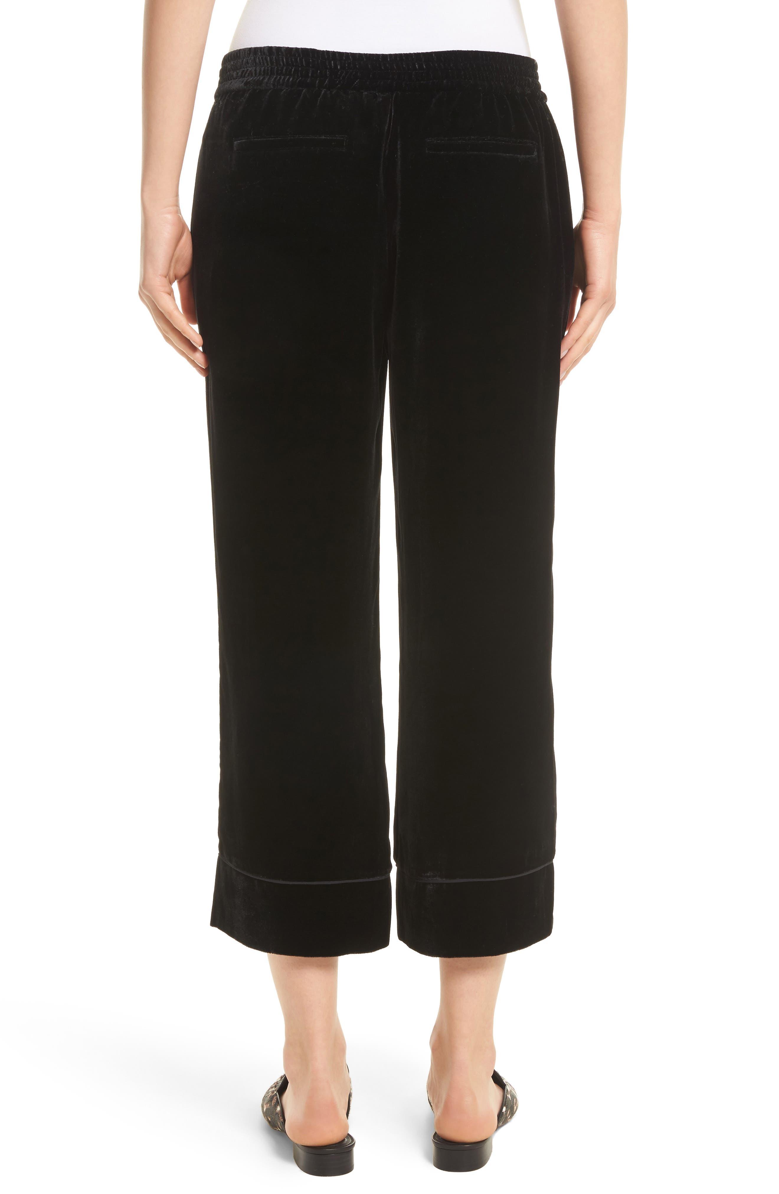 Kaitrine Wide Leg Velvet Crop Pants,                             Alternate thumbnail 2, color,                             002