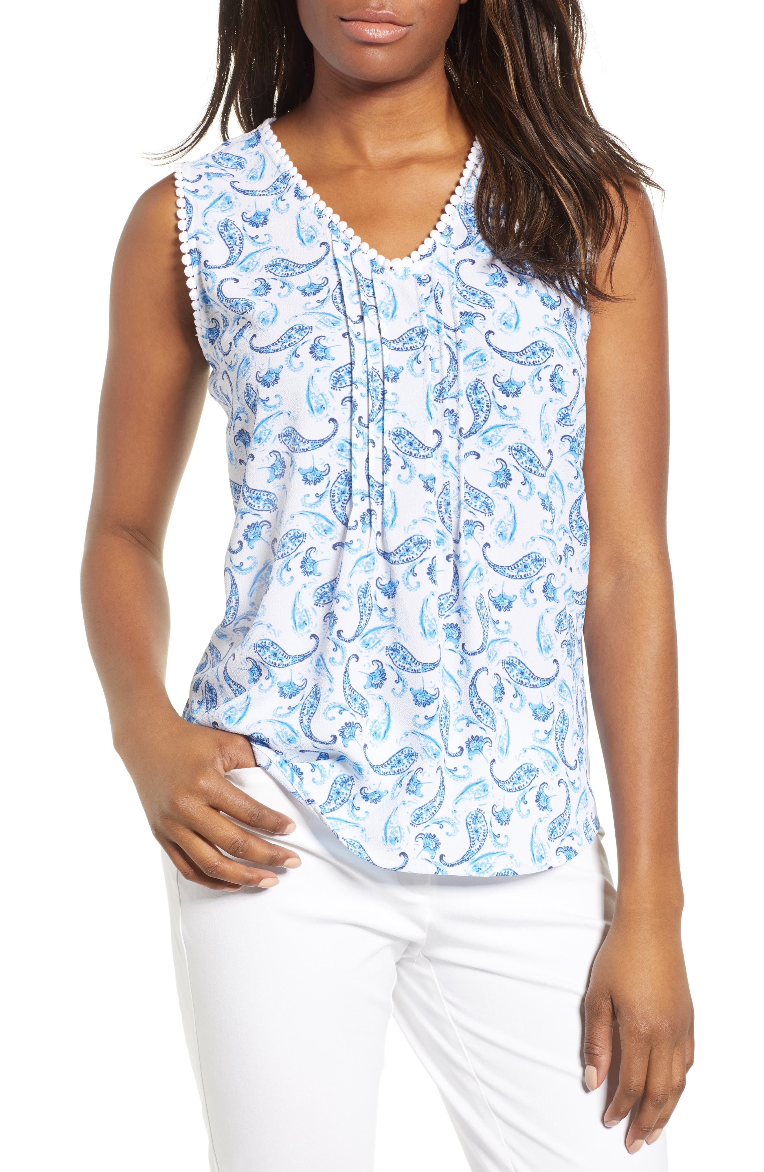 Paisley Pintuck Stretch Crepe Blouse,                         Main,                         color, 409