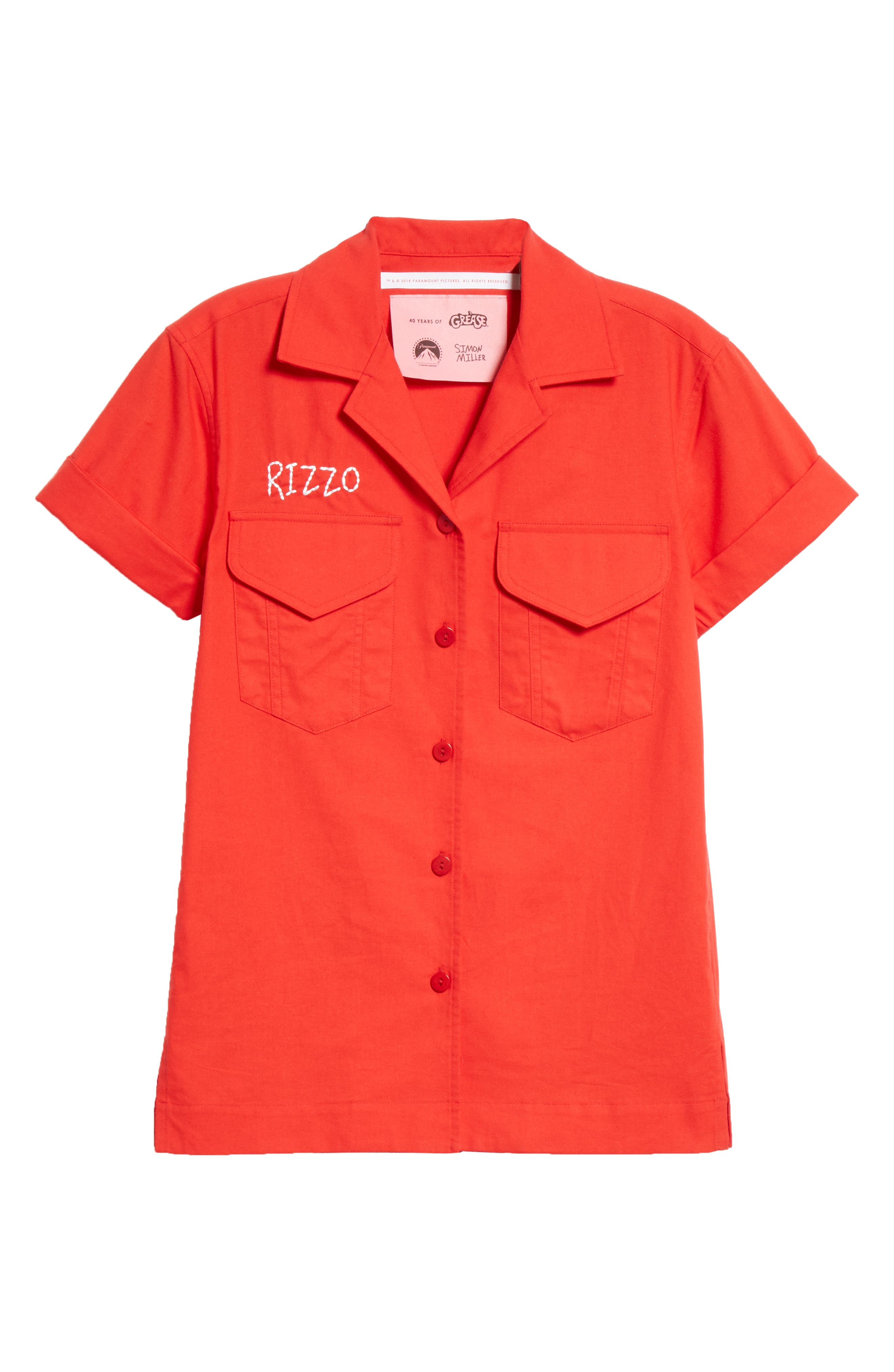 x Paramount Grease Rizzo Embroidered Mechanic Shirt,                             Alternate thumbnail 6, color,                             RIZZO RED