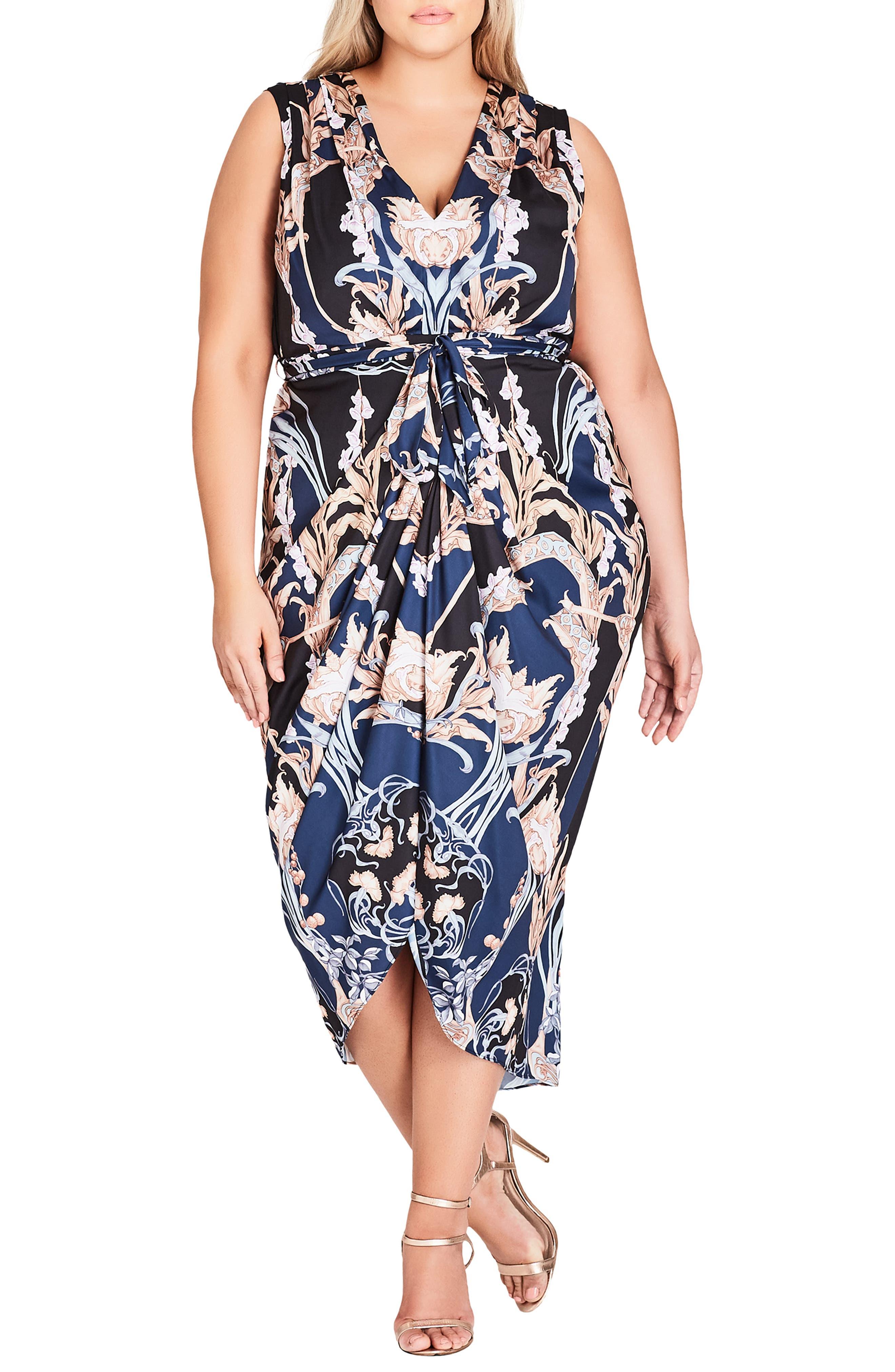 Plus Size City Chic Deco Print Sleeveless Dress, Black
