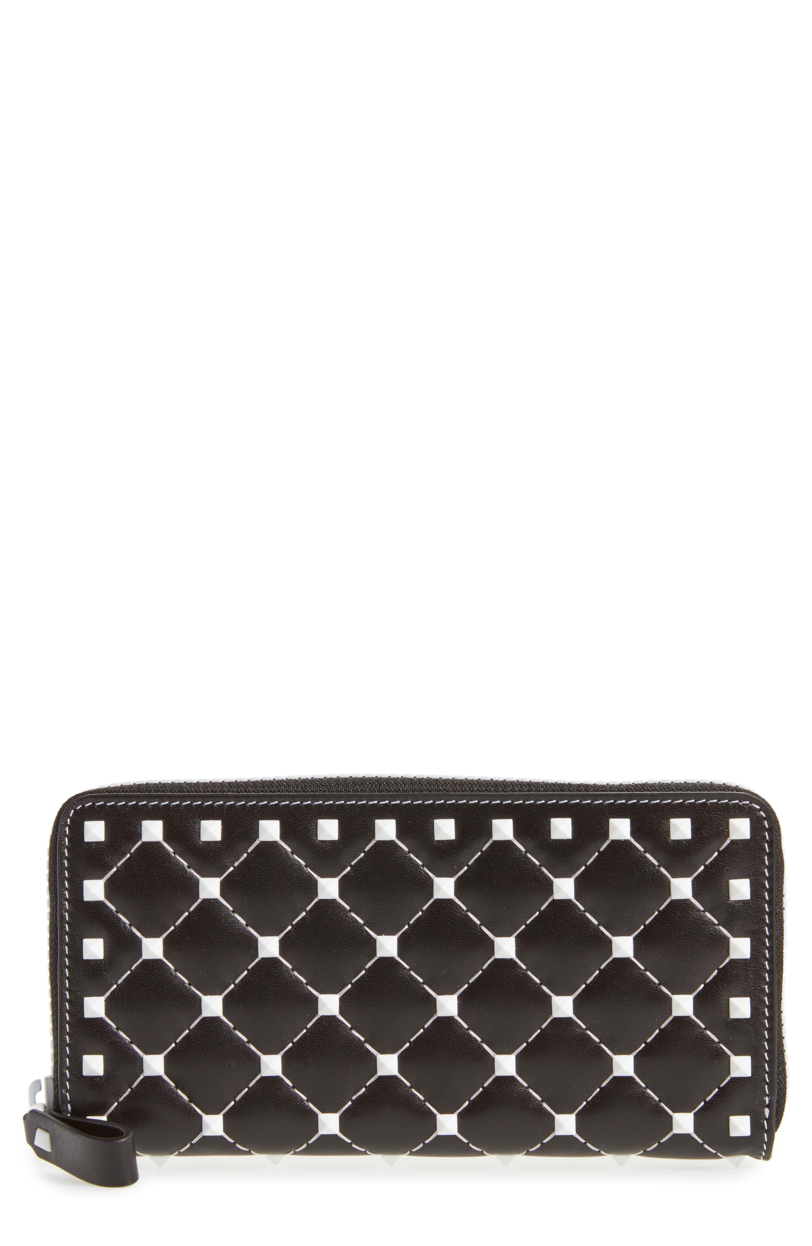 Rockstud Spike Zip Around Leather Wallet,                         Main,                         color,